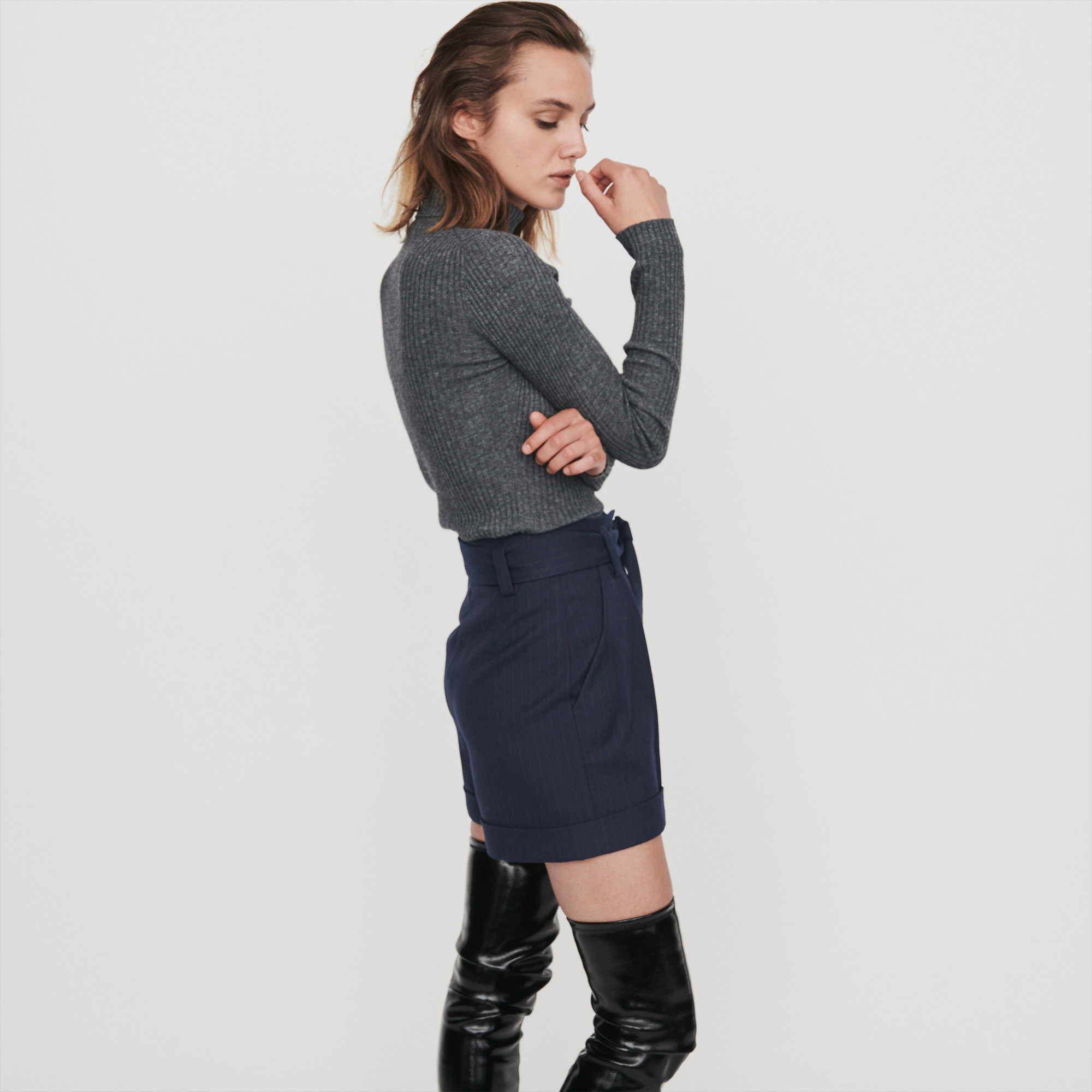 Belted Shorts With Racing Stripes - Navy