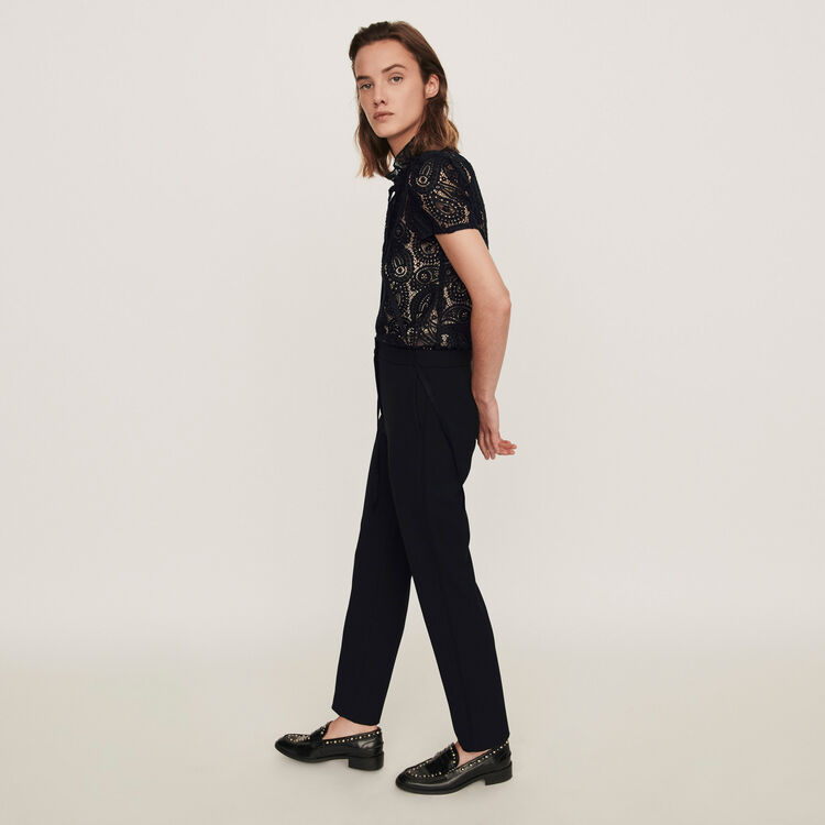 Guipure And Crepe Jumpsuit  - Black