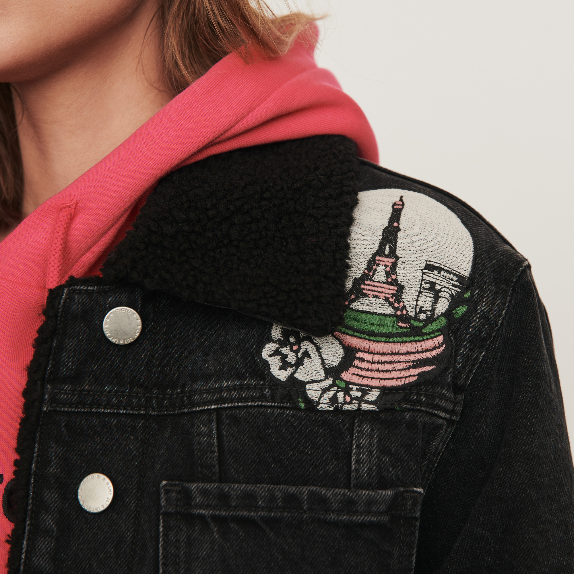 Jean Jacket With Embroidered Patches - Black