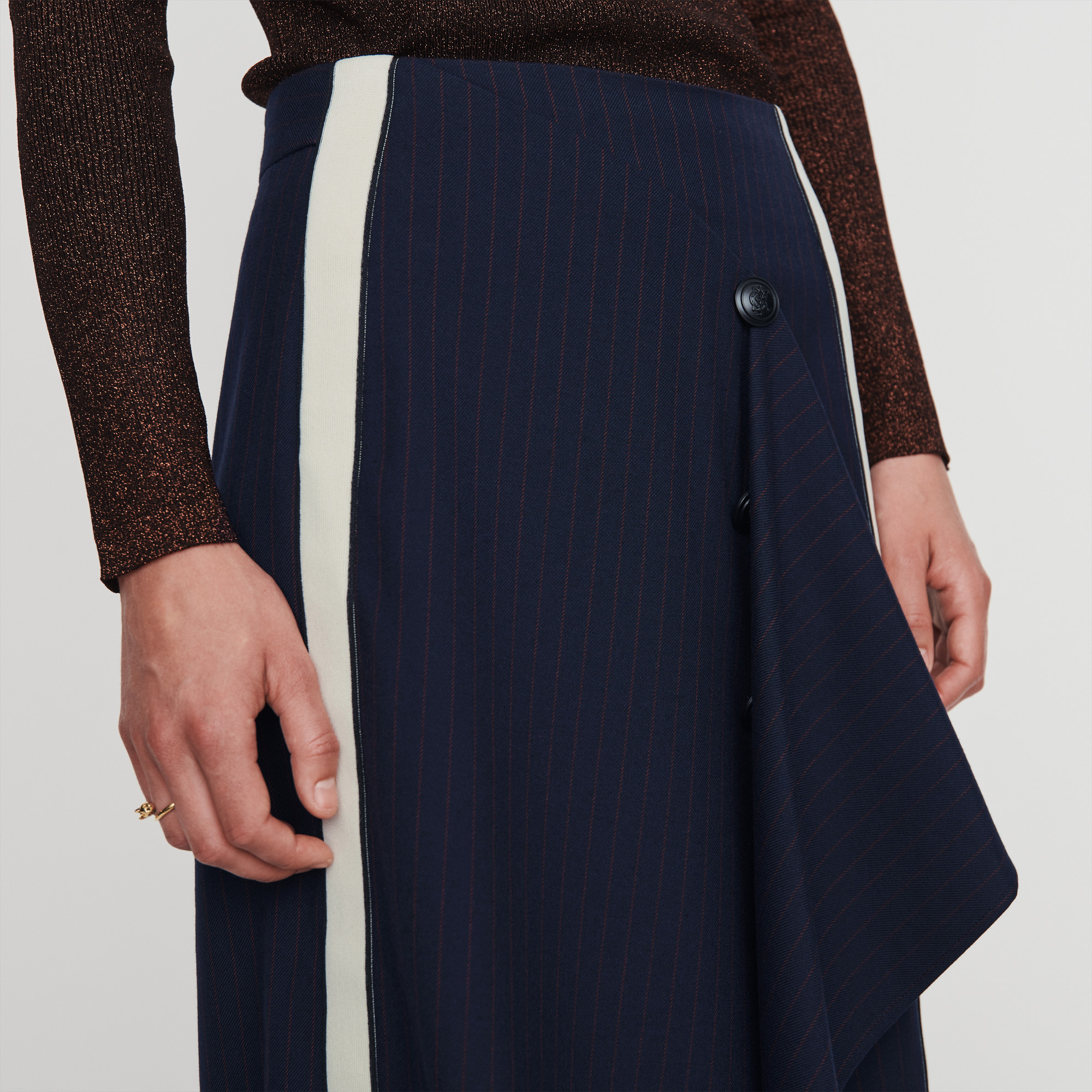 Skirt With Racing Stripes - Navy