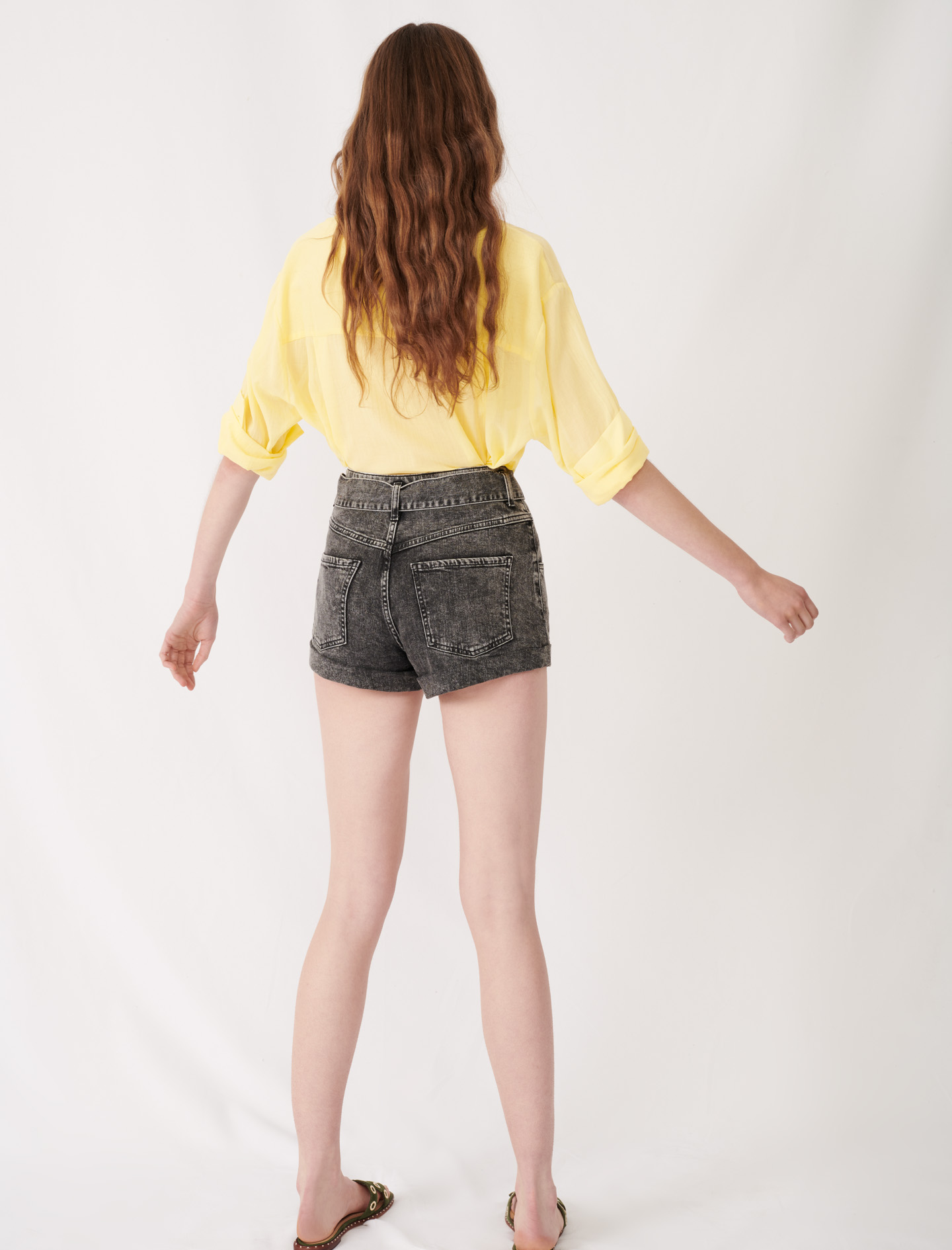 Belted Faded Shorts - Grey