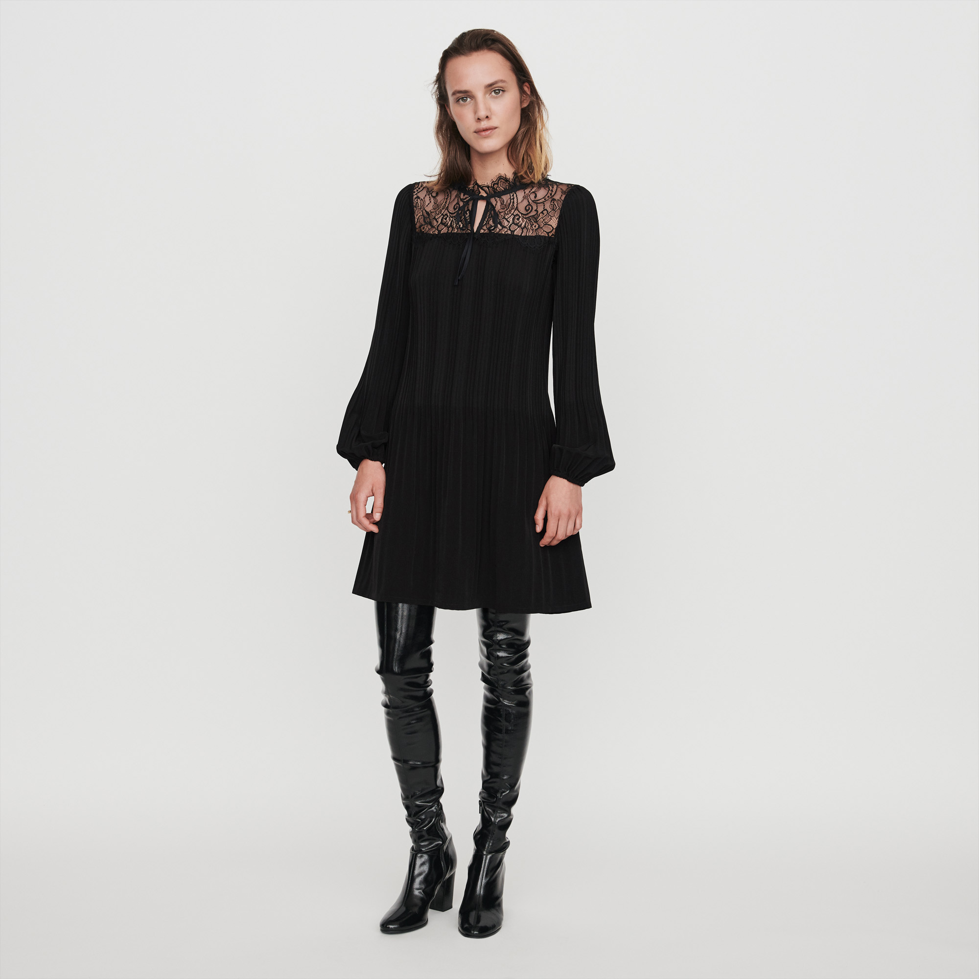 Pleated Lace Dress - Black
