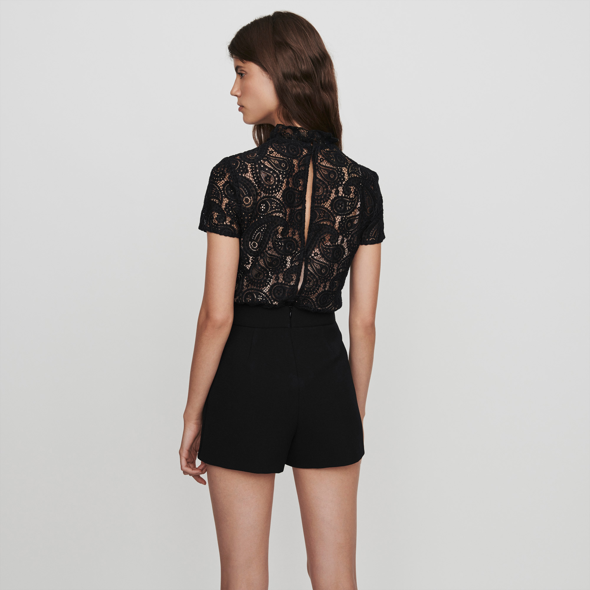 Guipure And Crepe Playsuit  - Black
