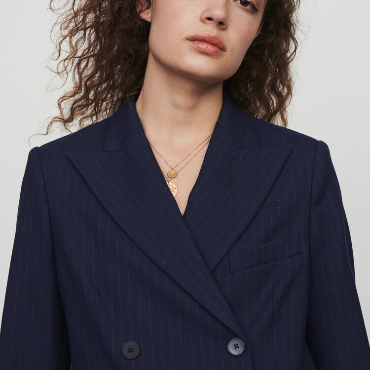 Racing striped double breasted jacket - Navy