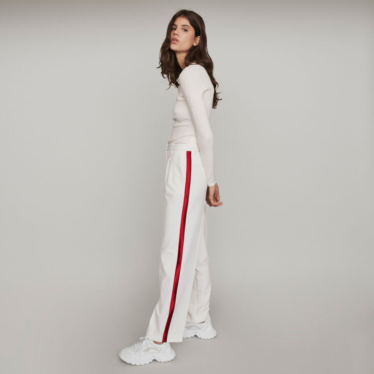 Wide Leg Pants With Contrasting Stripes - Ecru