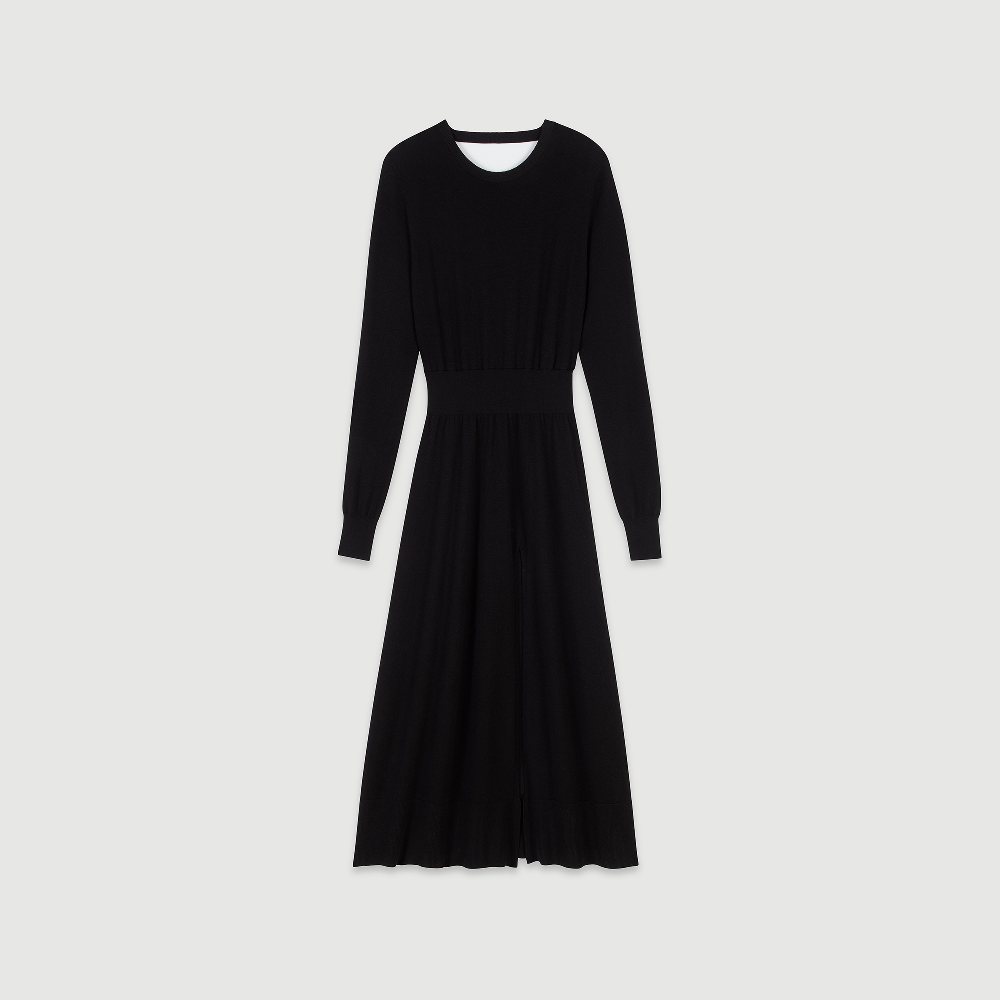 Split And Reversible Knit Dress - Black