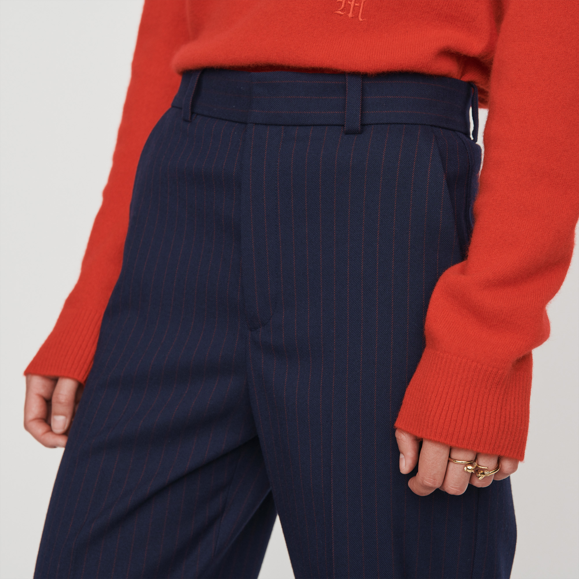 Straight Leg Pants With Racing Stripes - Navy