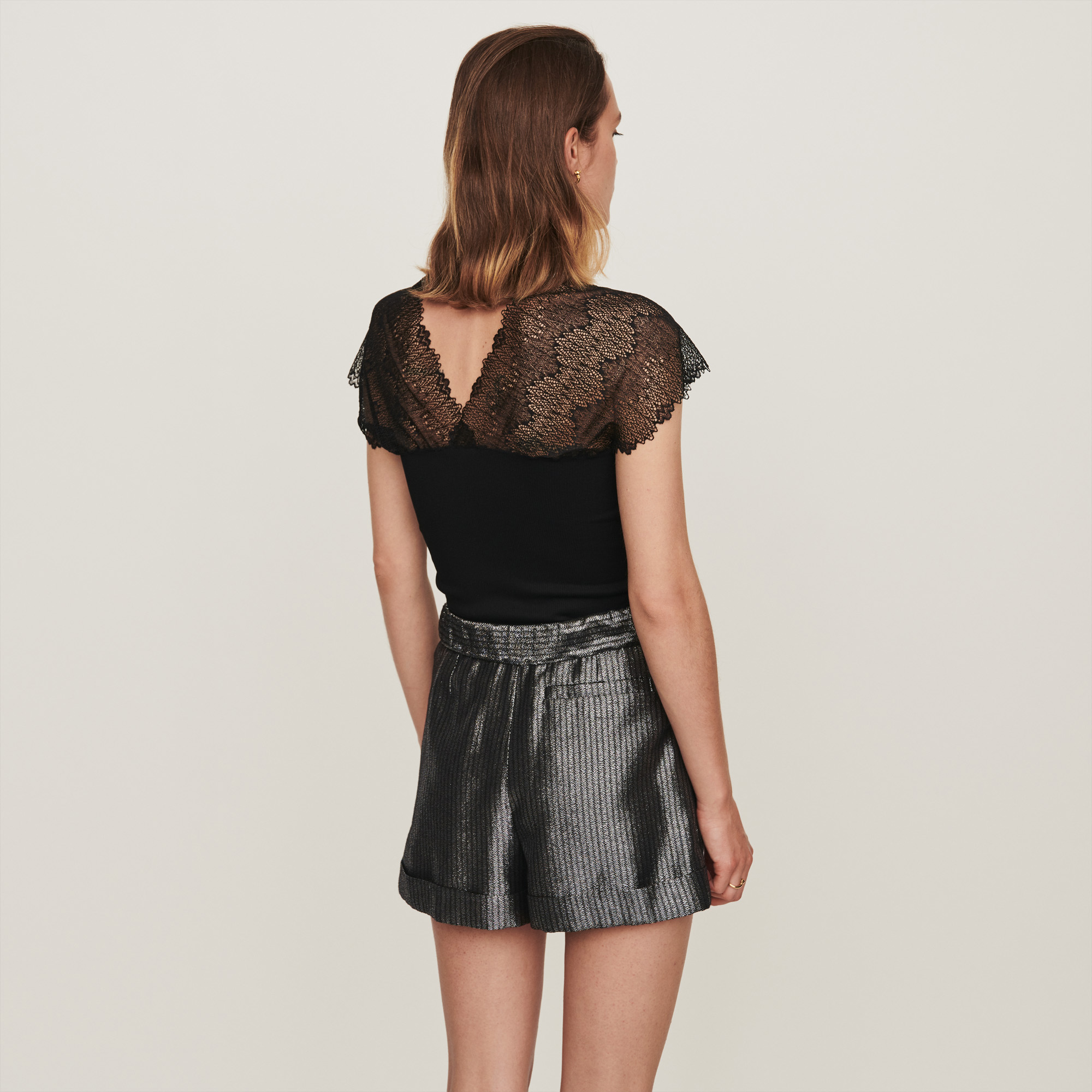 Jersey Top With Lace Trim - Black