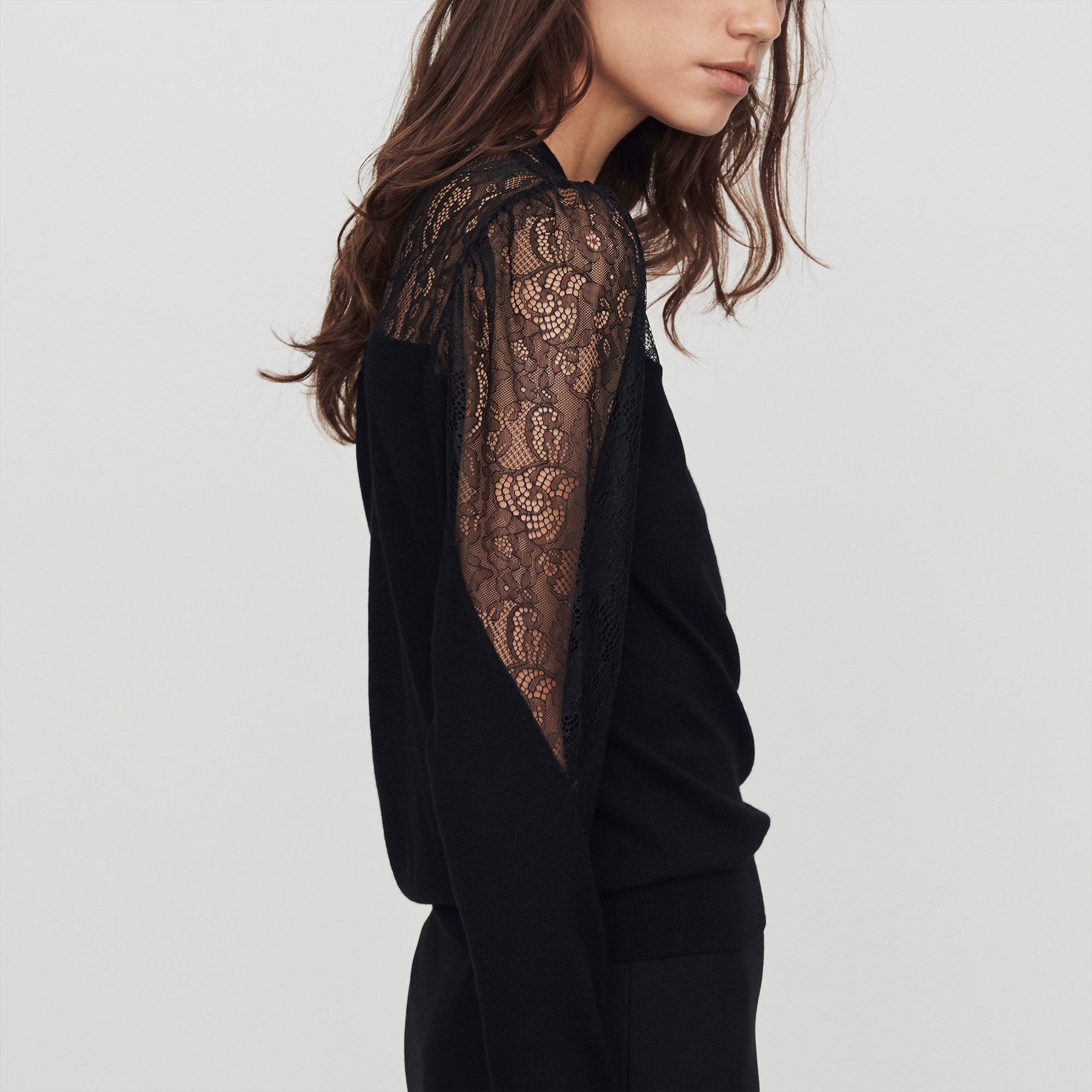 Light Knit And Lace Sweater - Black
