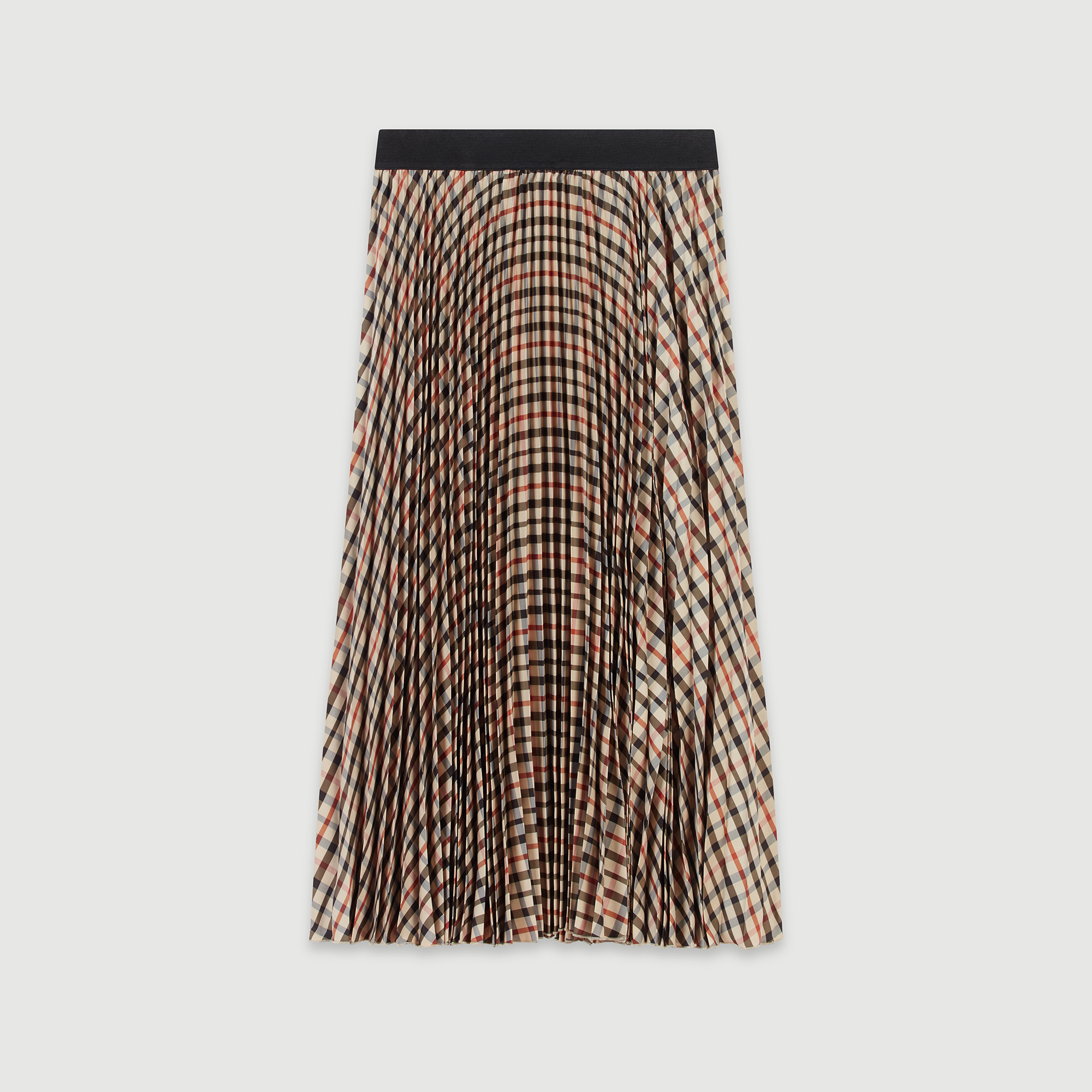 Elasticated Pleated Plaid Skirt - Brown