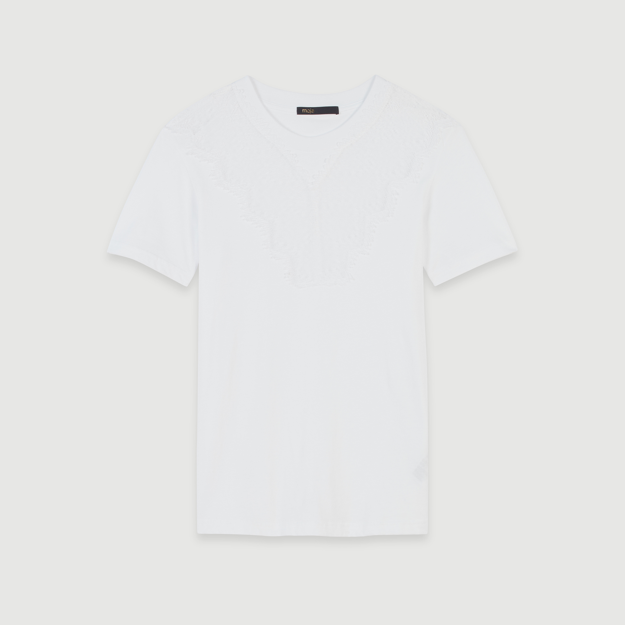 Tee Shirt With Lace Trim - White