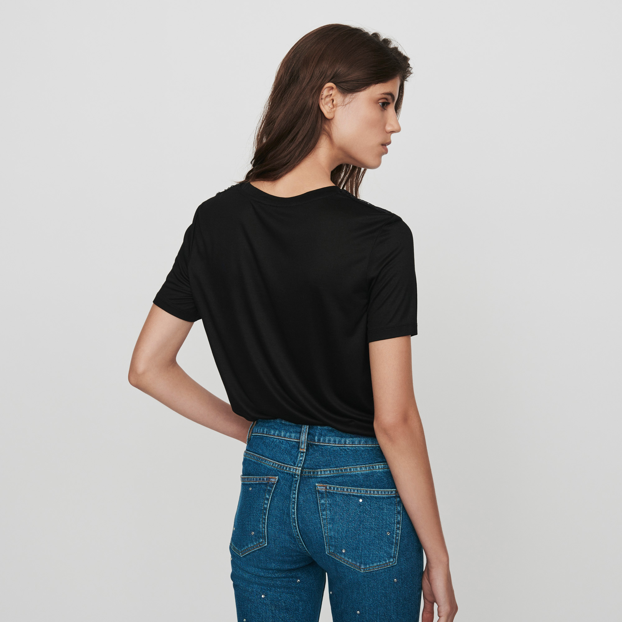 Tee Shirt With Lace Trim - Black