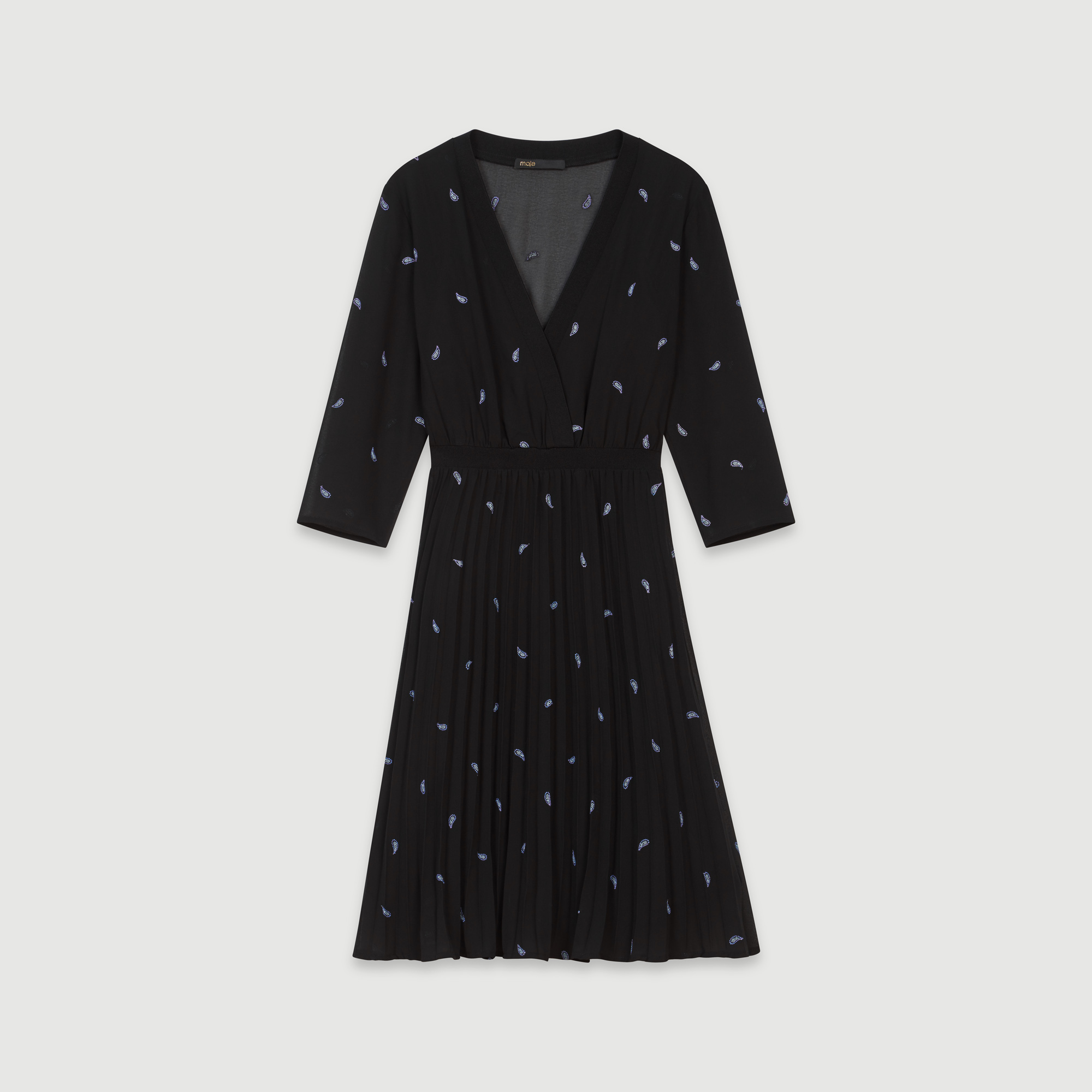 Pleated mini dress with embroidered cashmere - Black