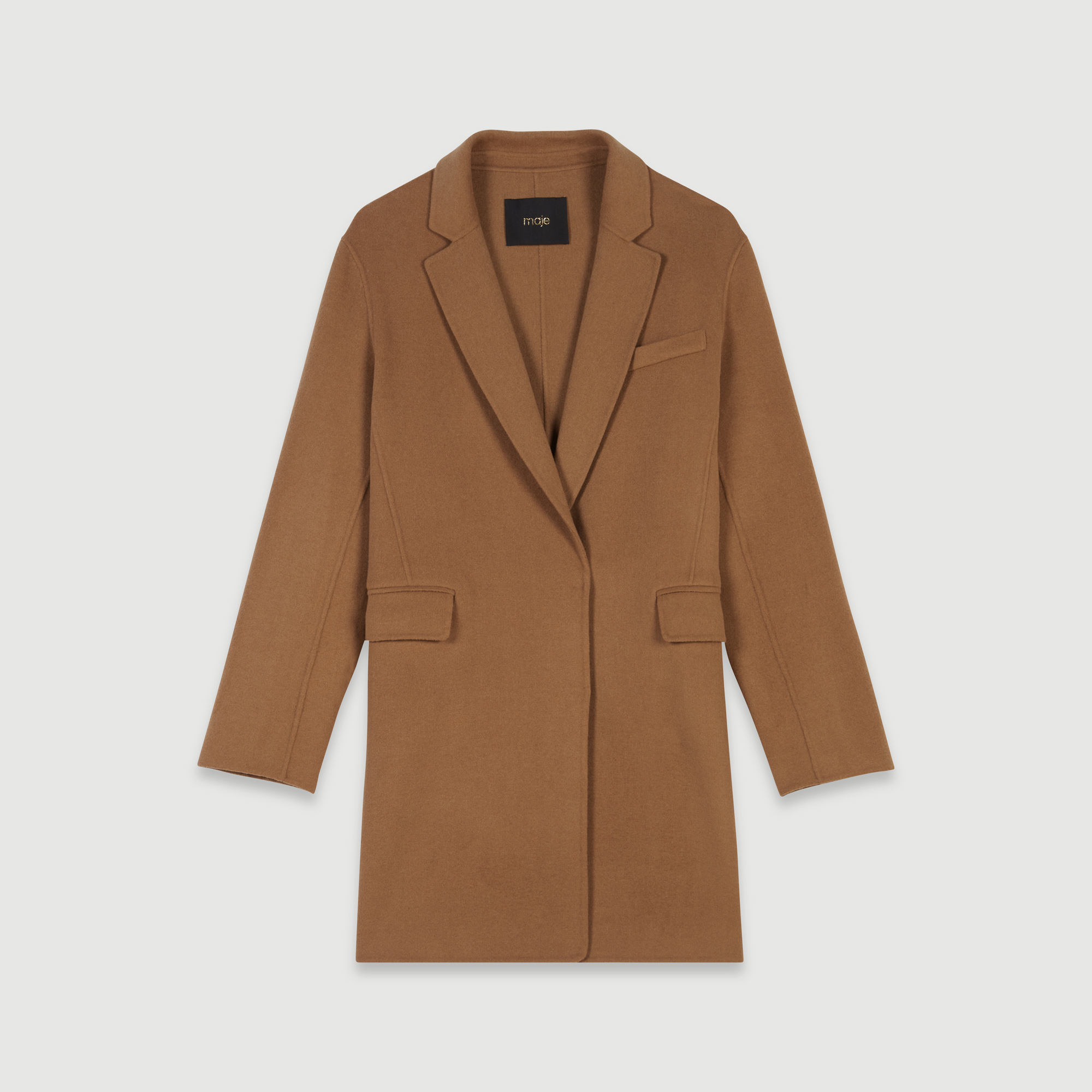 Double face cropped coat - Tobacco