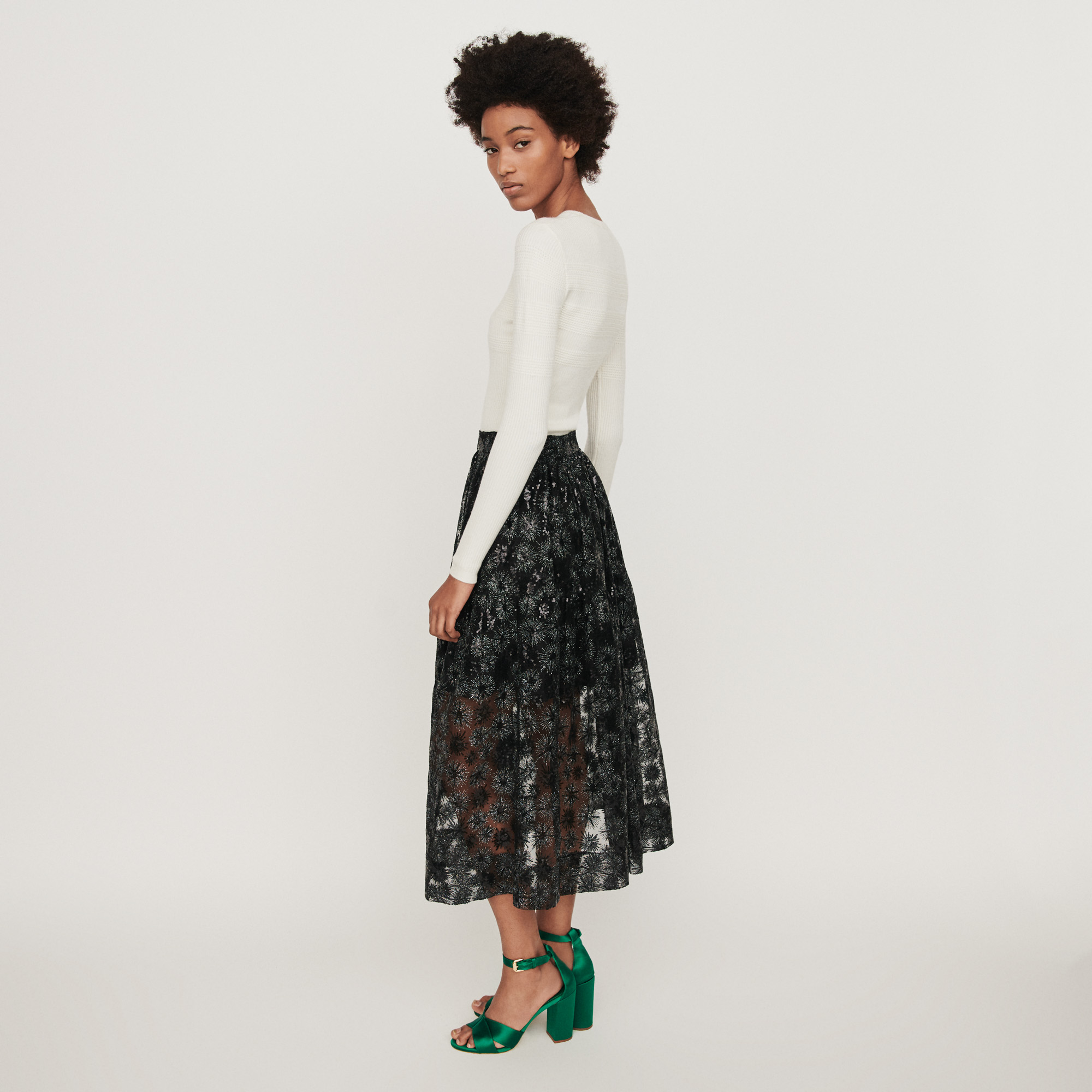 Sequin embroidered tulle skirt - Black