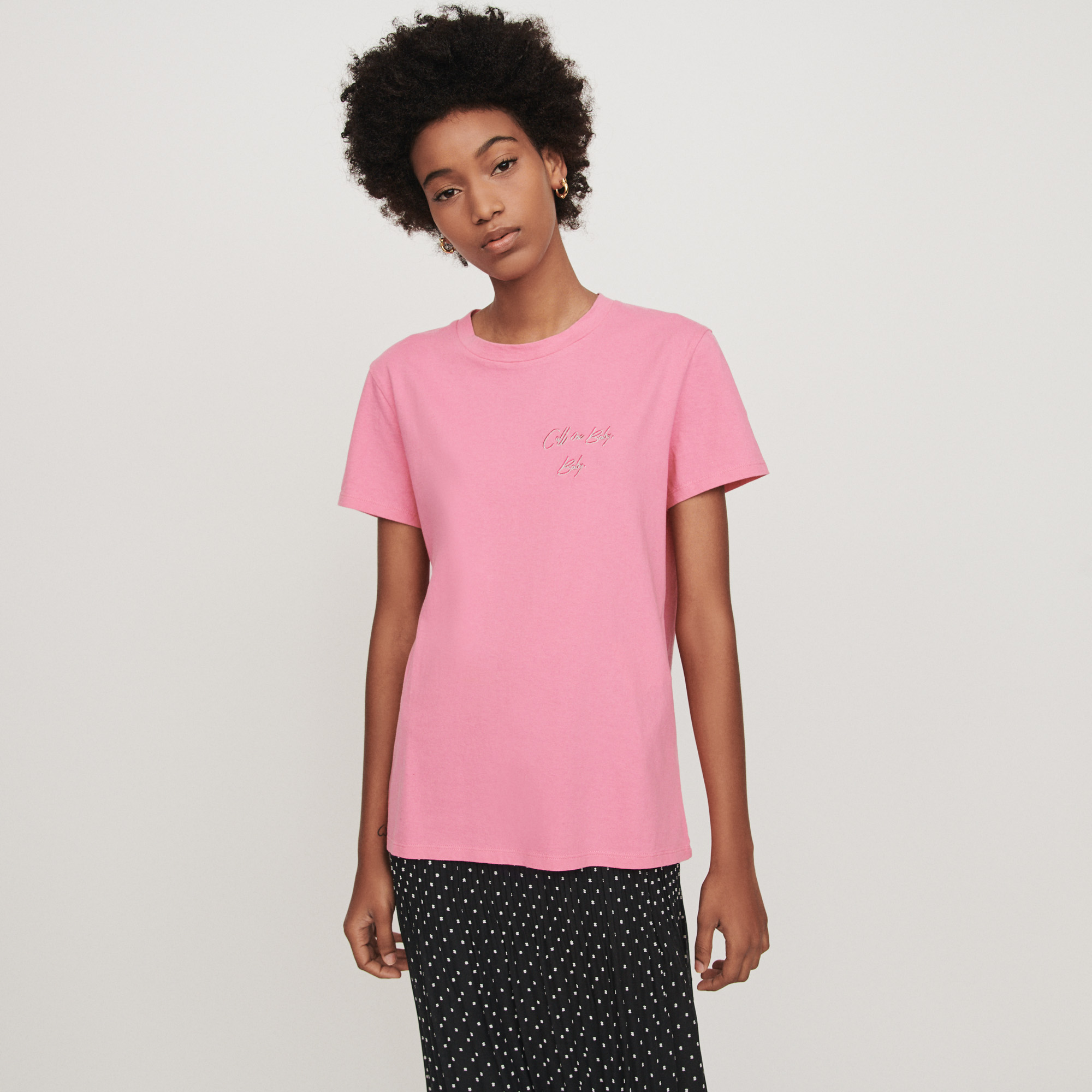 Embroidered short sleeved t shirt - Rose