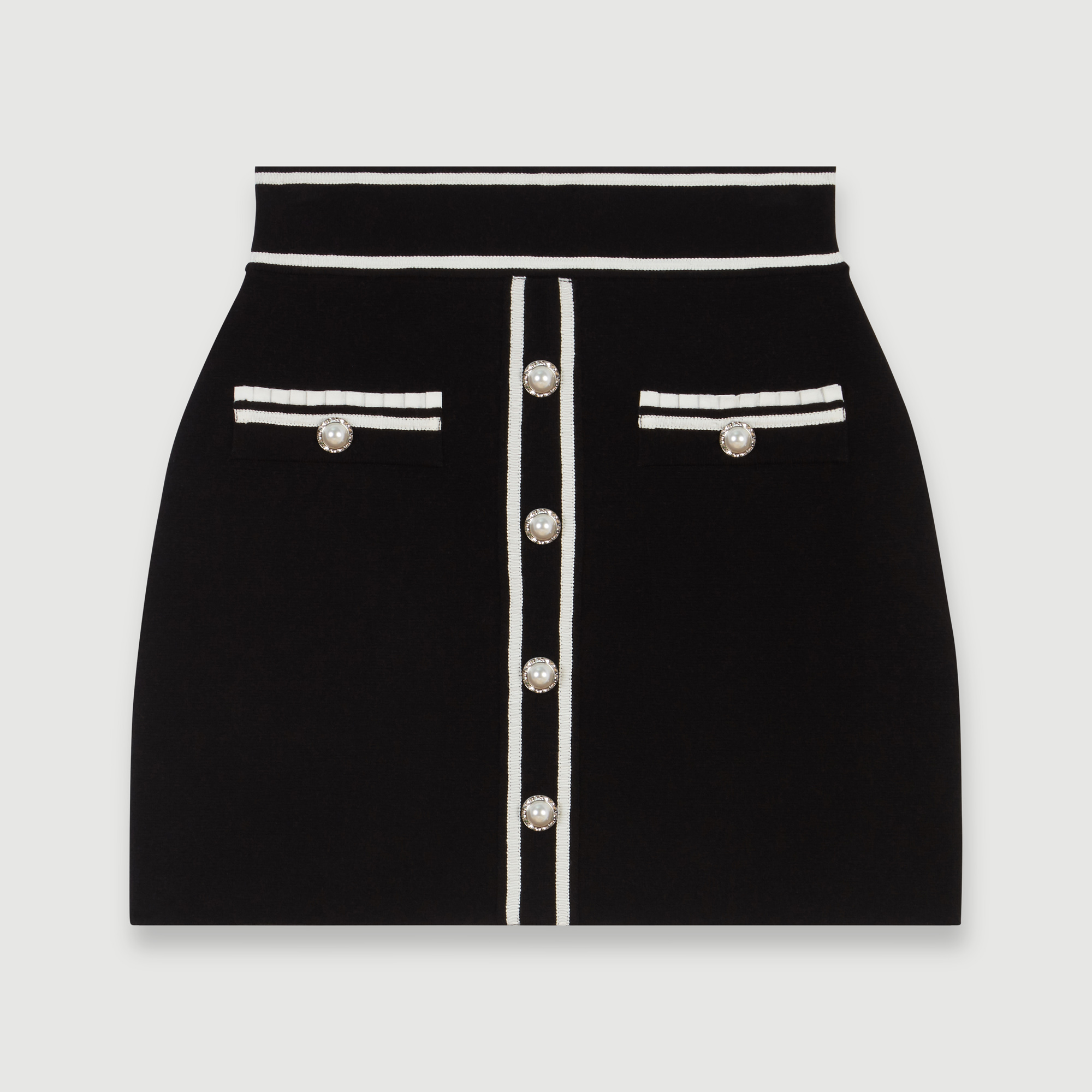 Jeweled contrast knit skirt - Black
