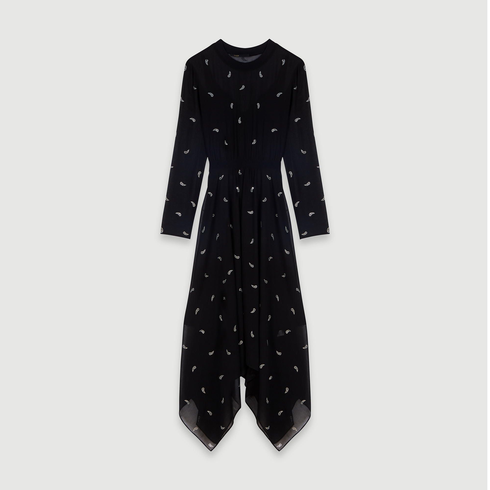 Cashmere scarf dress with strass motif - Black