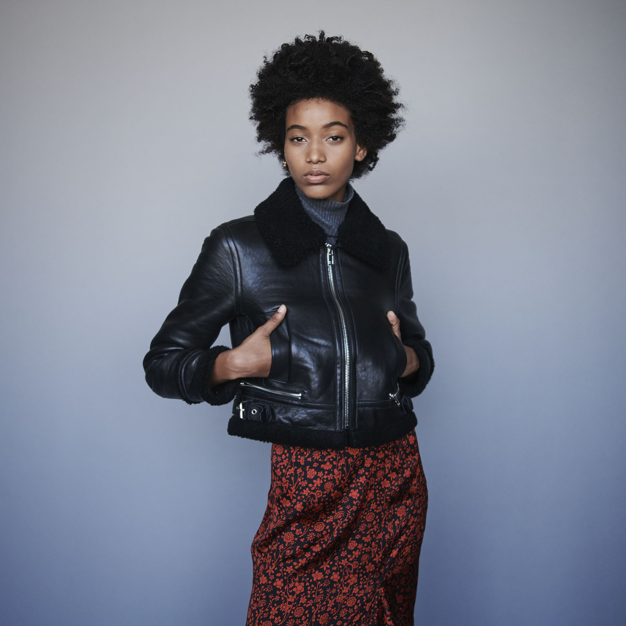 Leather jacket with shearling collar - Black