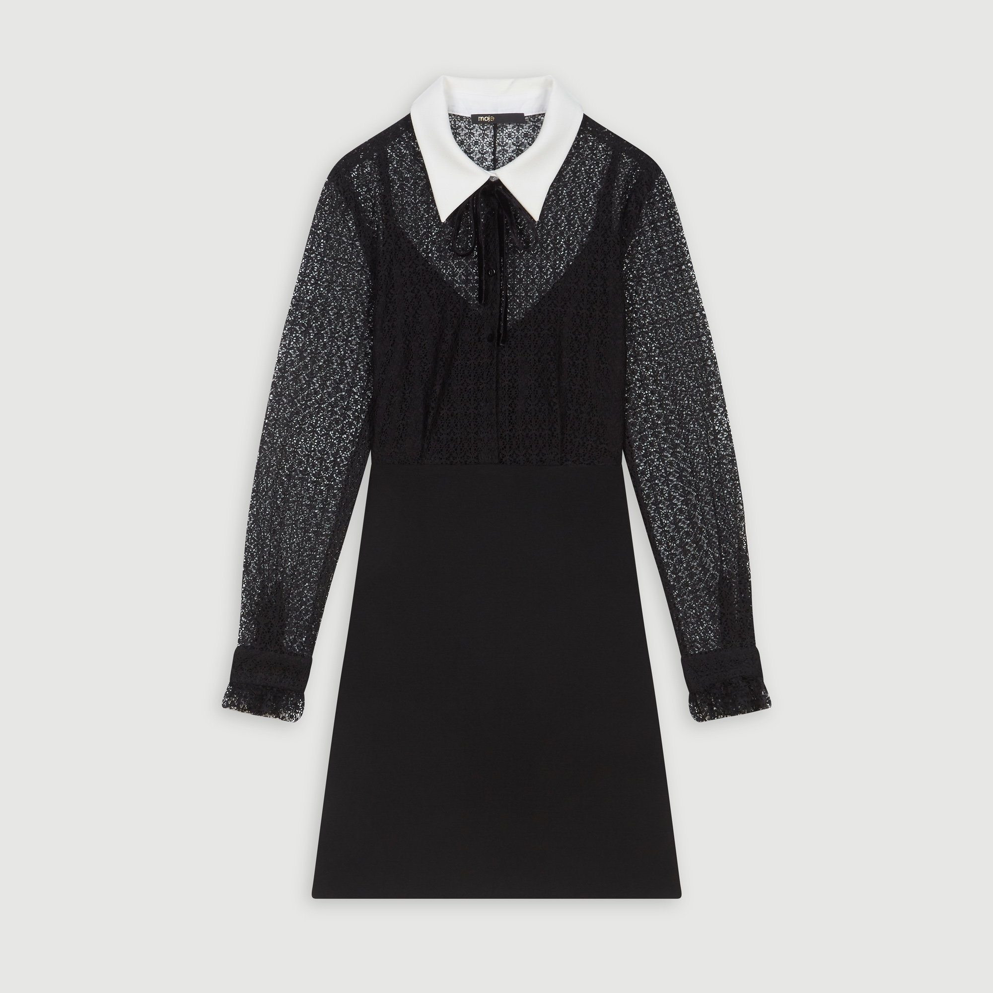 Contrast collar guipure and crepe dress - Black
