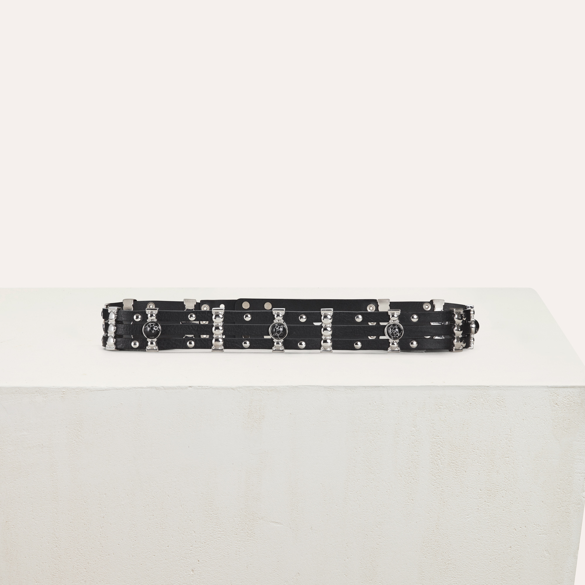 High waisted leather belt with studs - Black