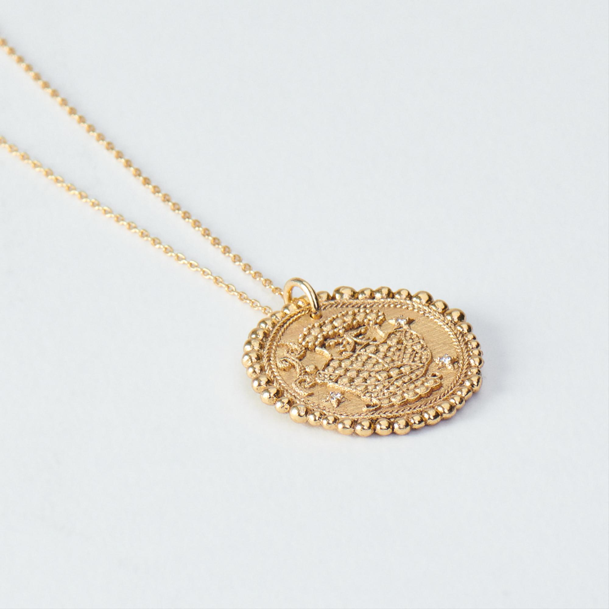 Gemini Zodiac Necklace - Gold