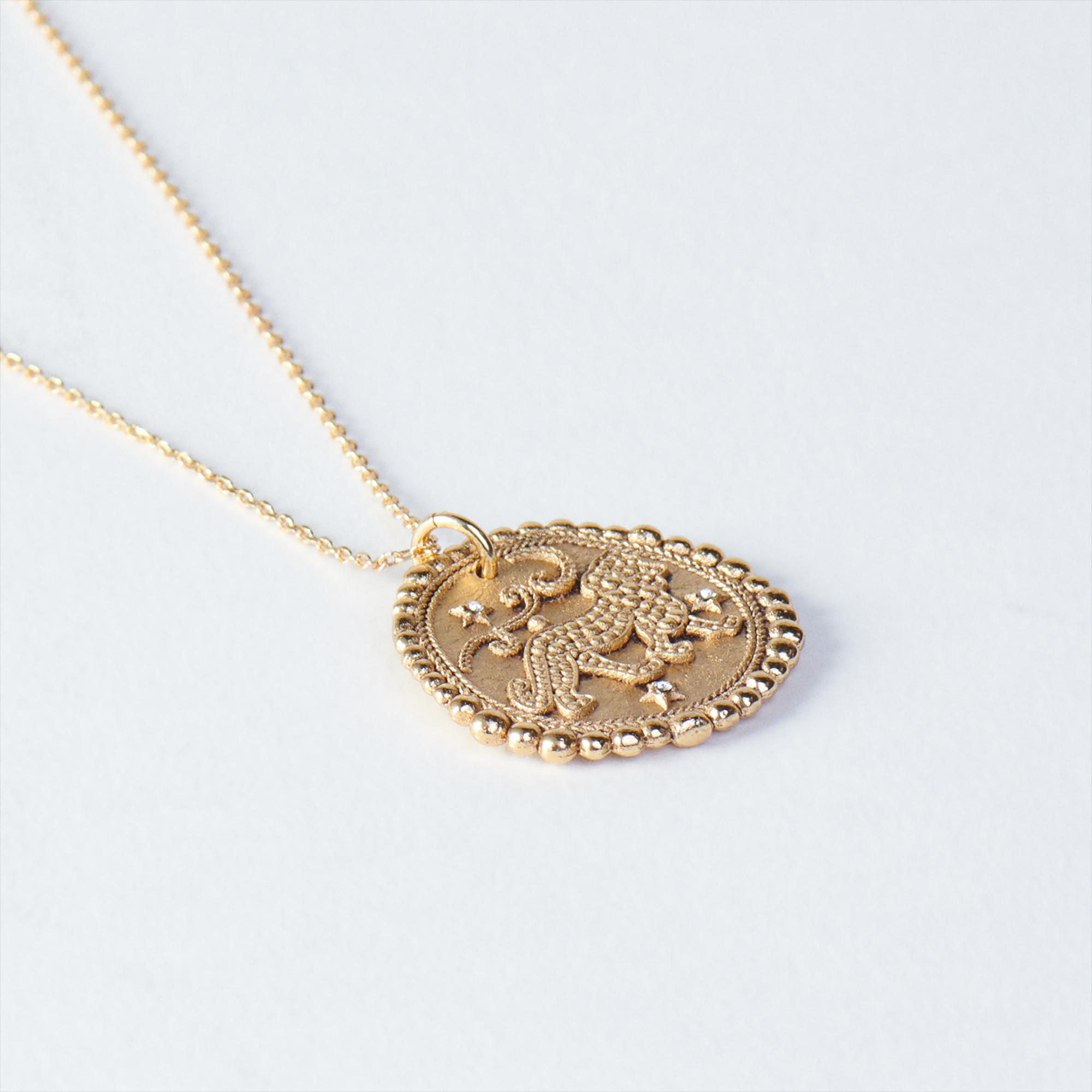 Lion Zodiac Necklace - Gold