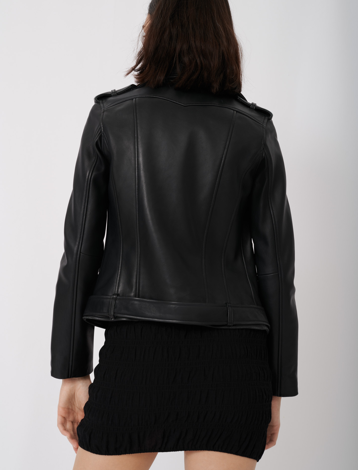 Leather biker jacket and belt - Black