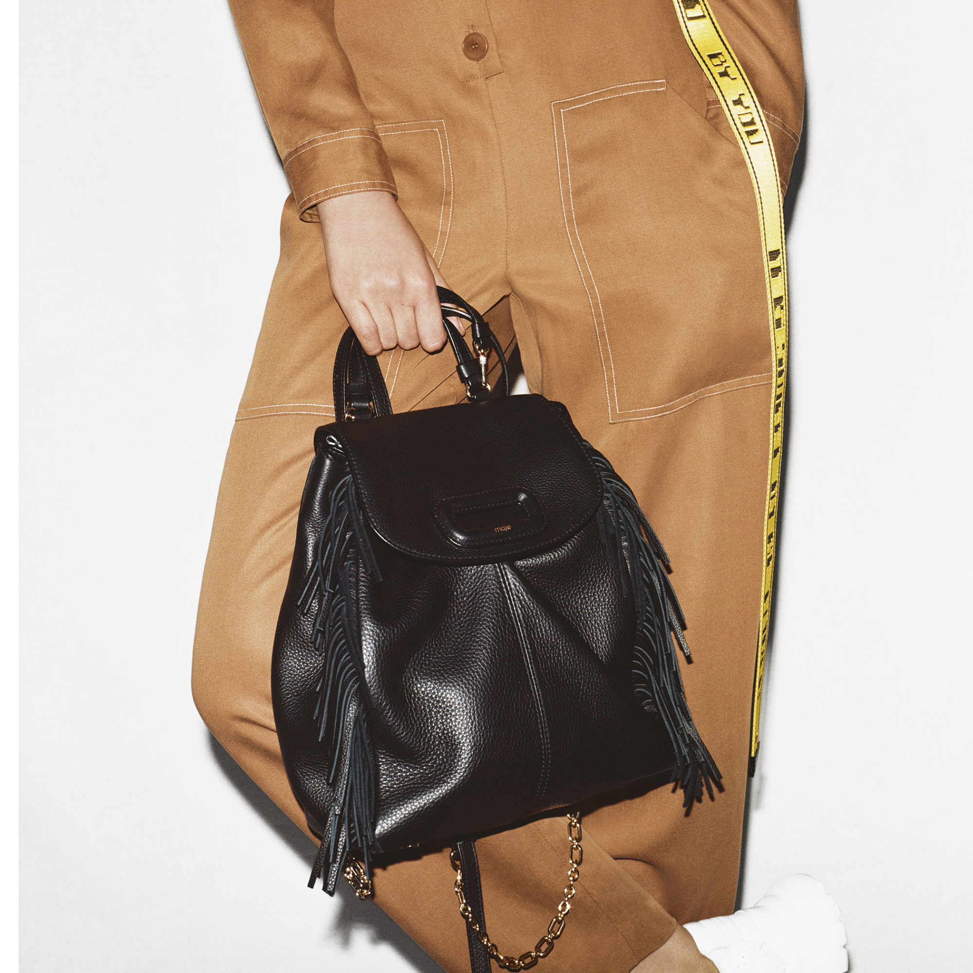 M leather backpack with chain - Black