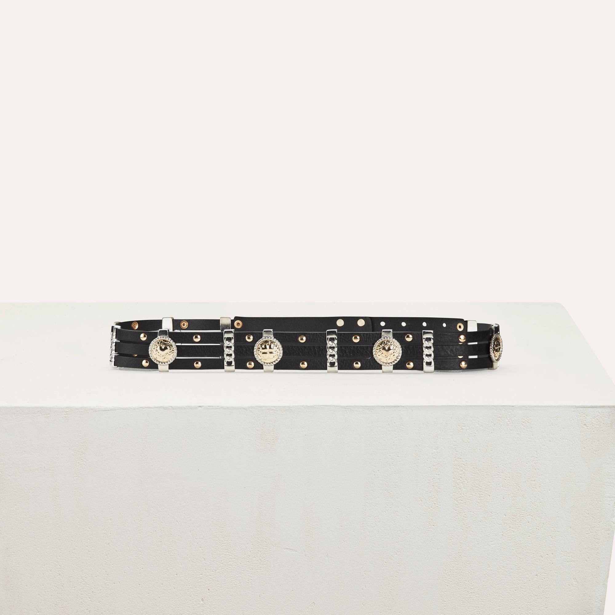 Leather belt with medallion - Black