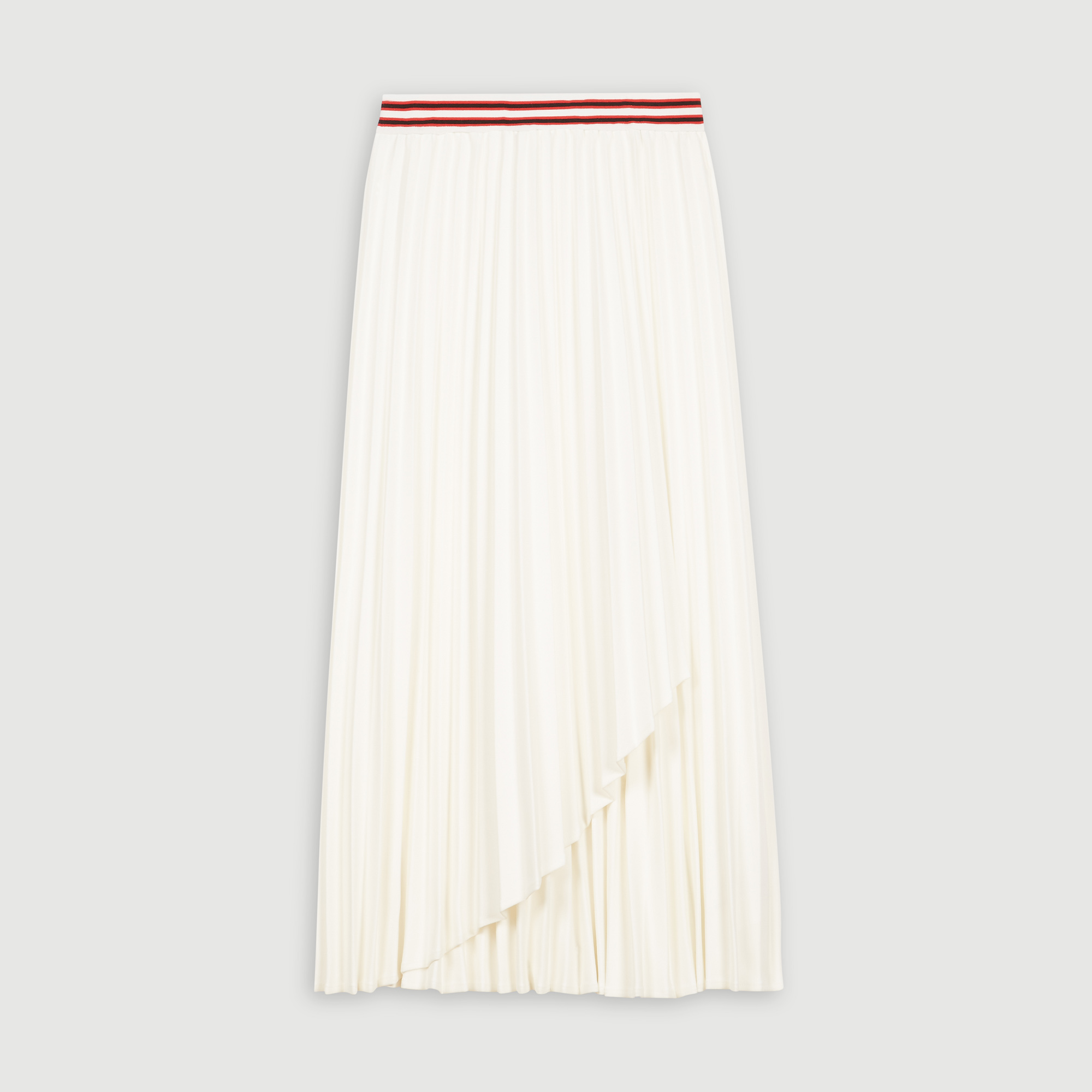 Pleated Skirt With Contrasting Stripes - Ecru