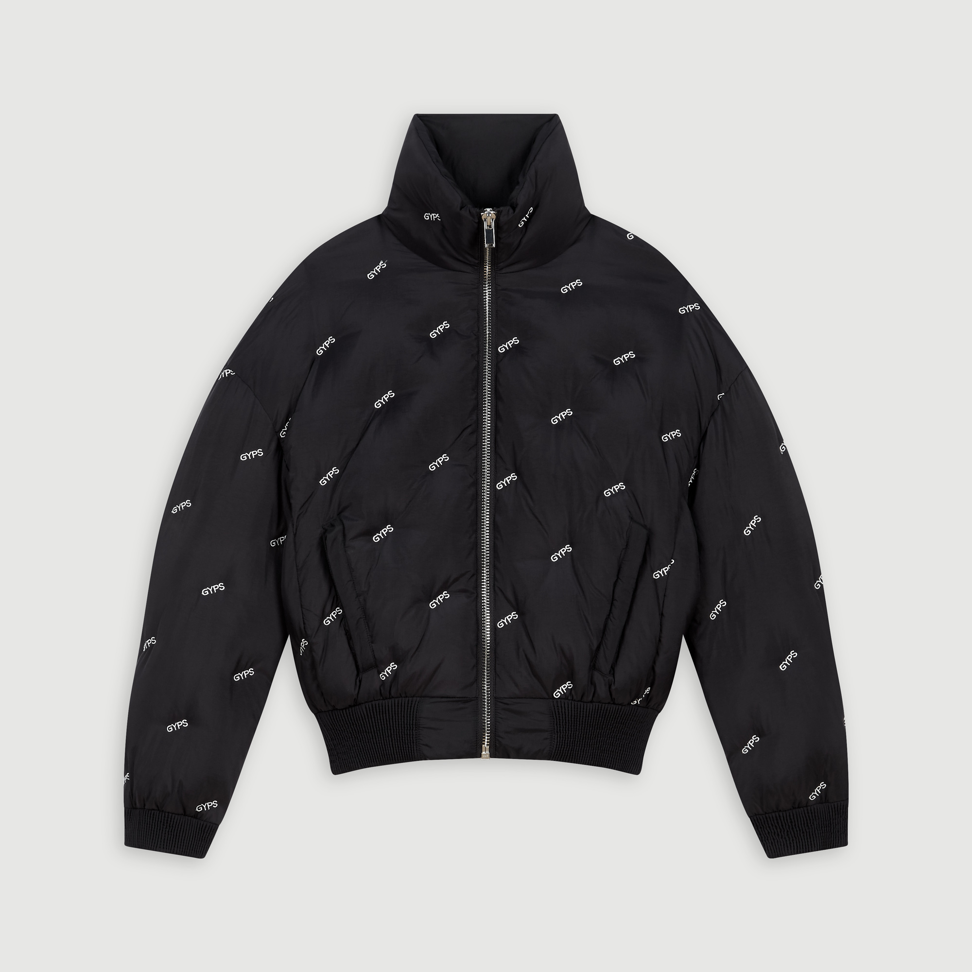 Embroidered cropped puffer - Black