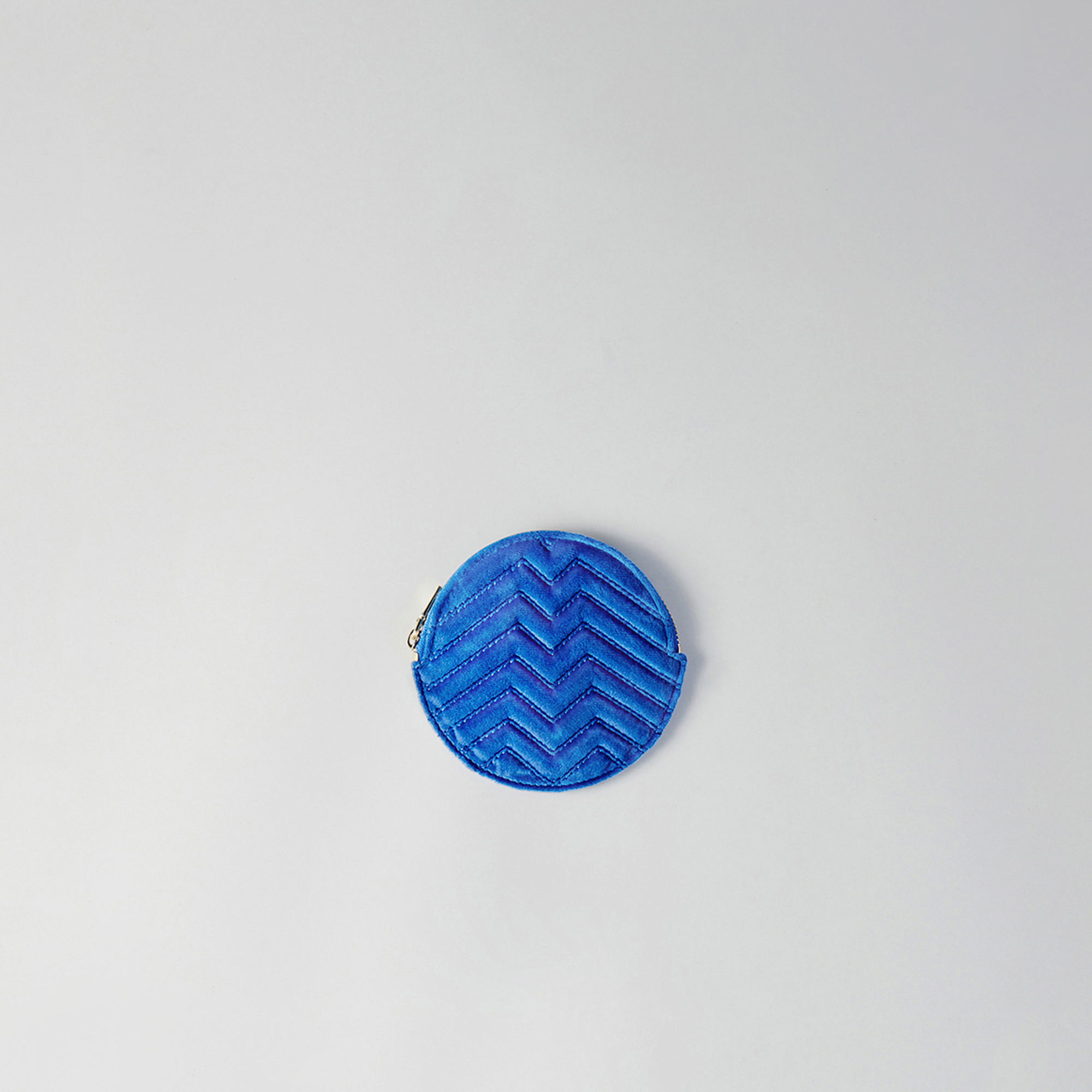 Round quilted velvet coin purse - Blue