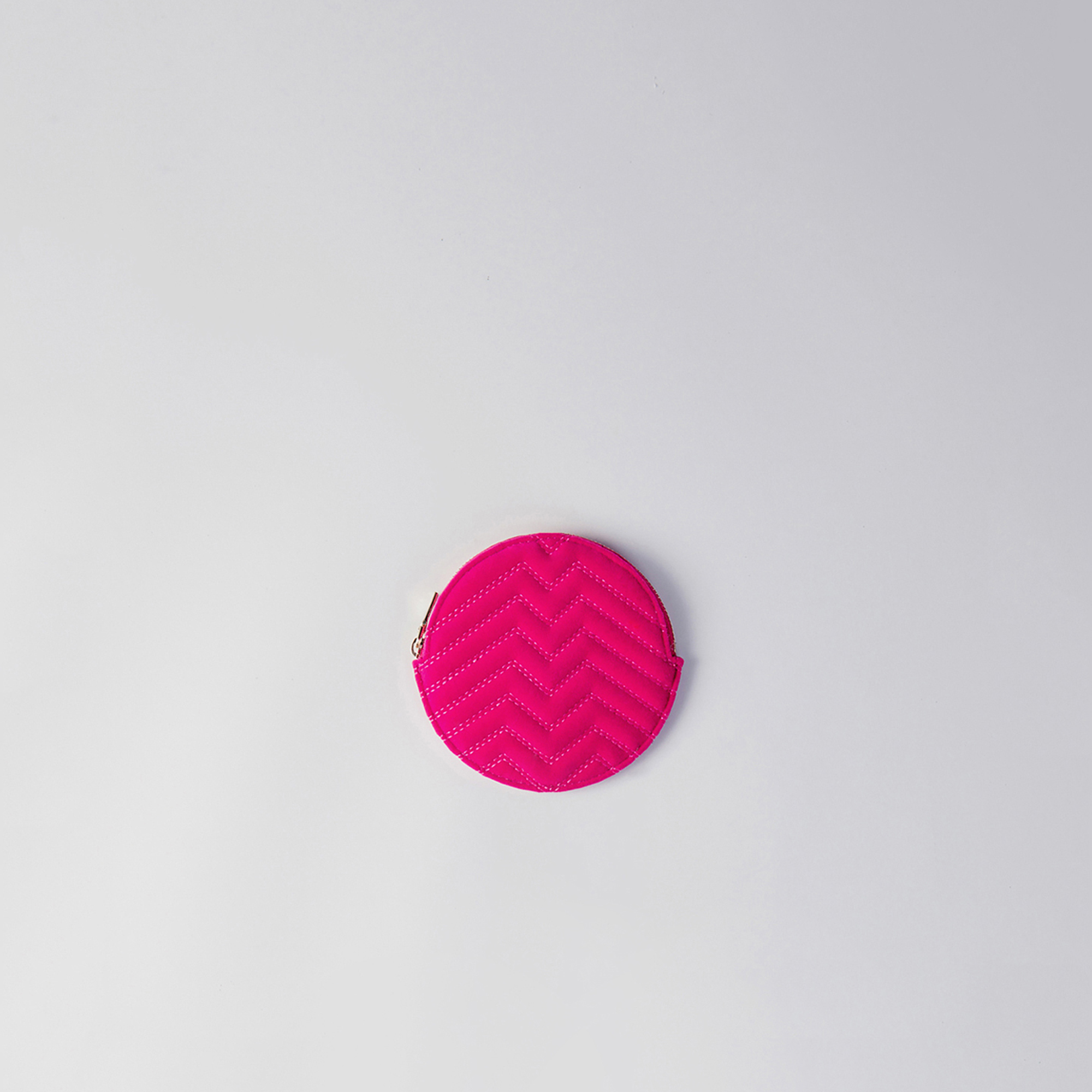 Round quilted velvet coin purse - Rose