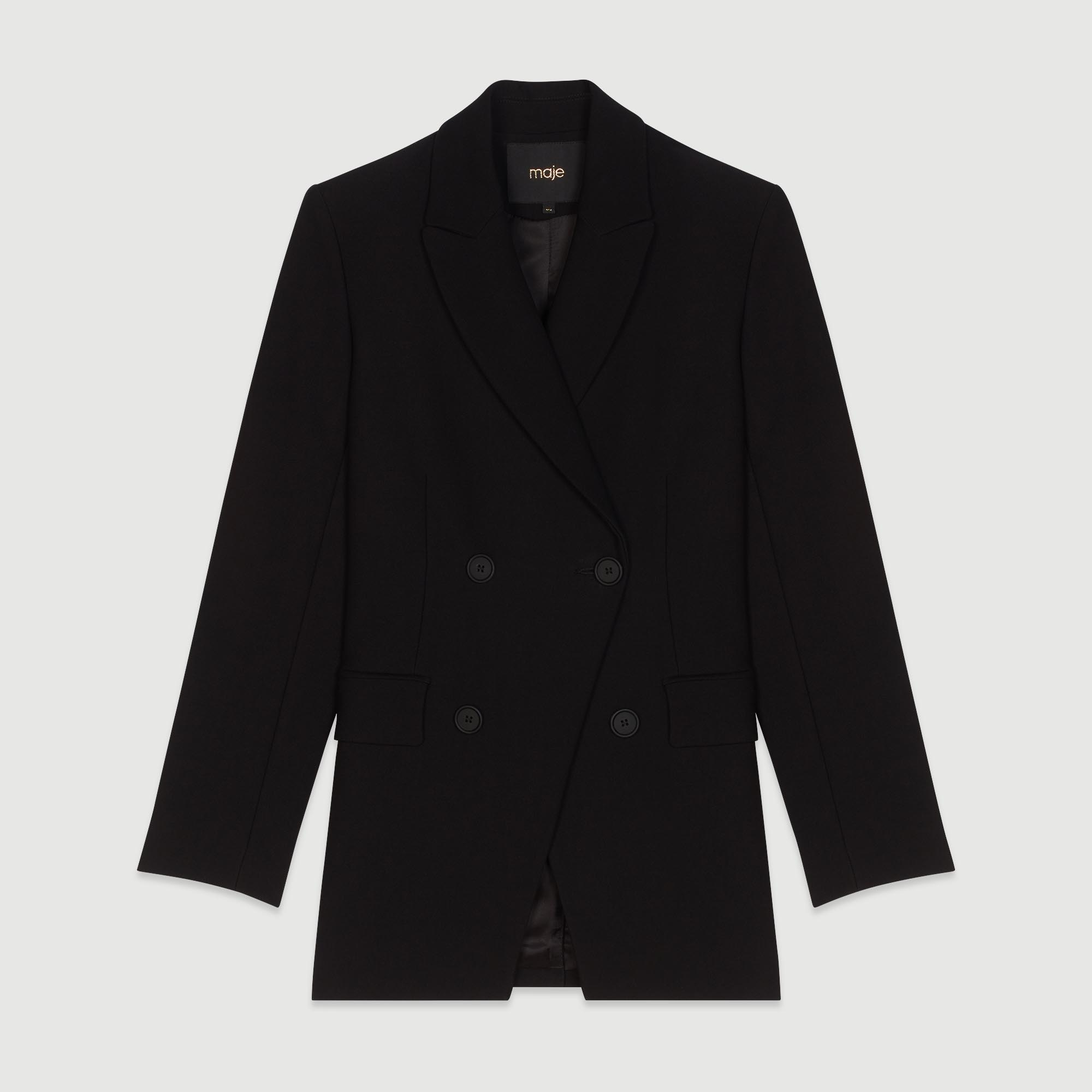 Black Suit Jacket With Buttons - Black