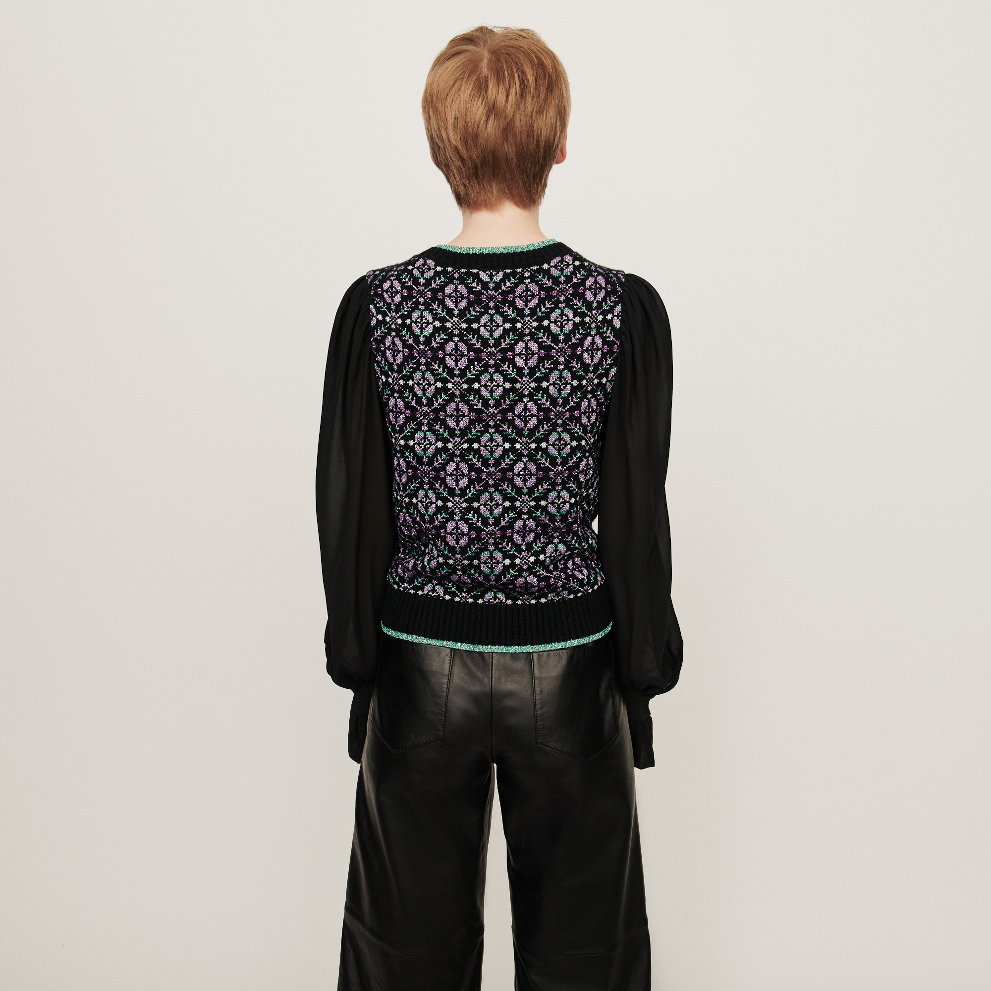 Fancy motif trompe l'oeil sweater - Black