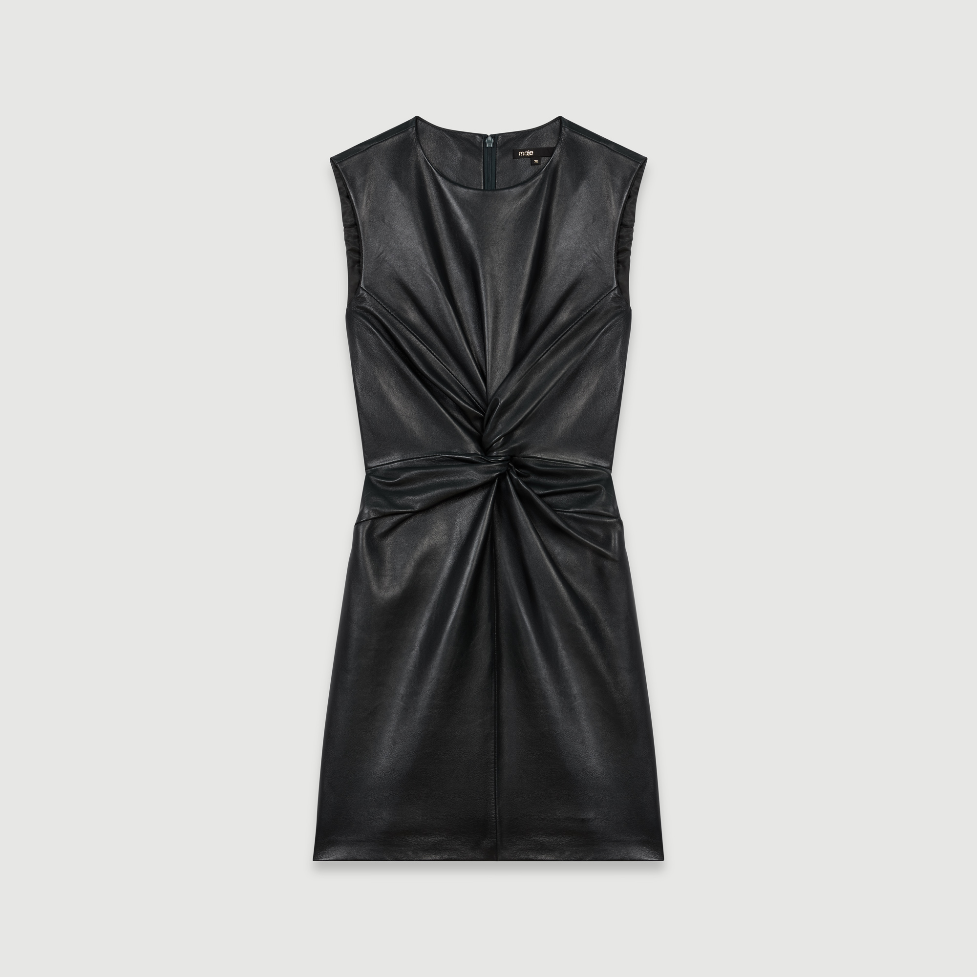 Sleeveless knotted leather dress - Green