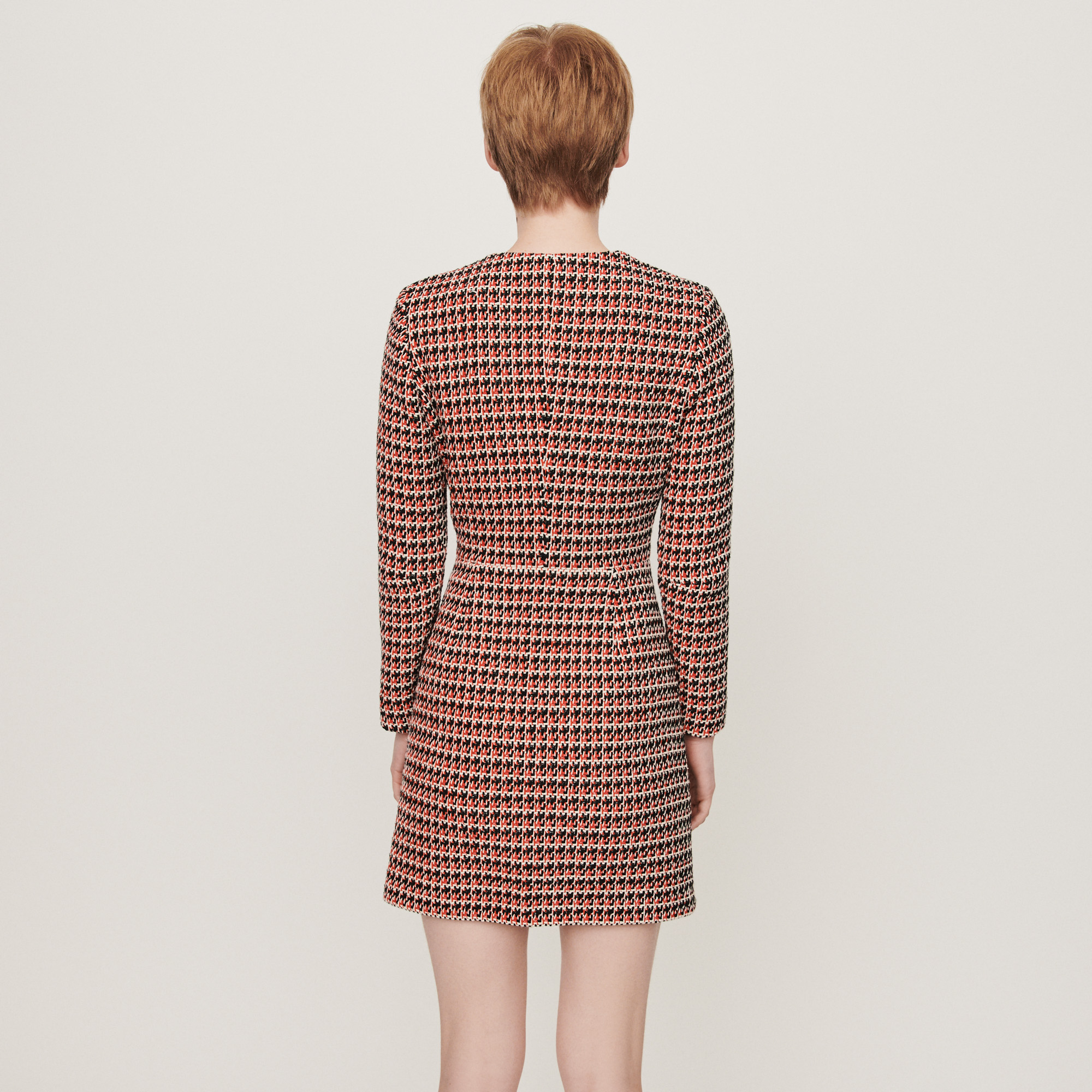 Tweed style contrasted dress - Red