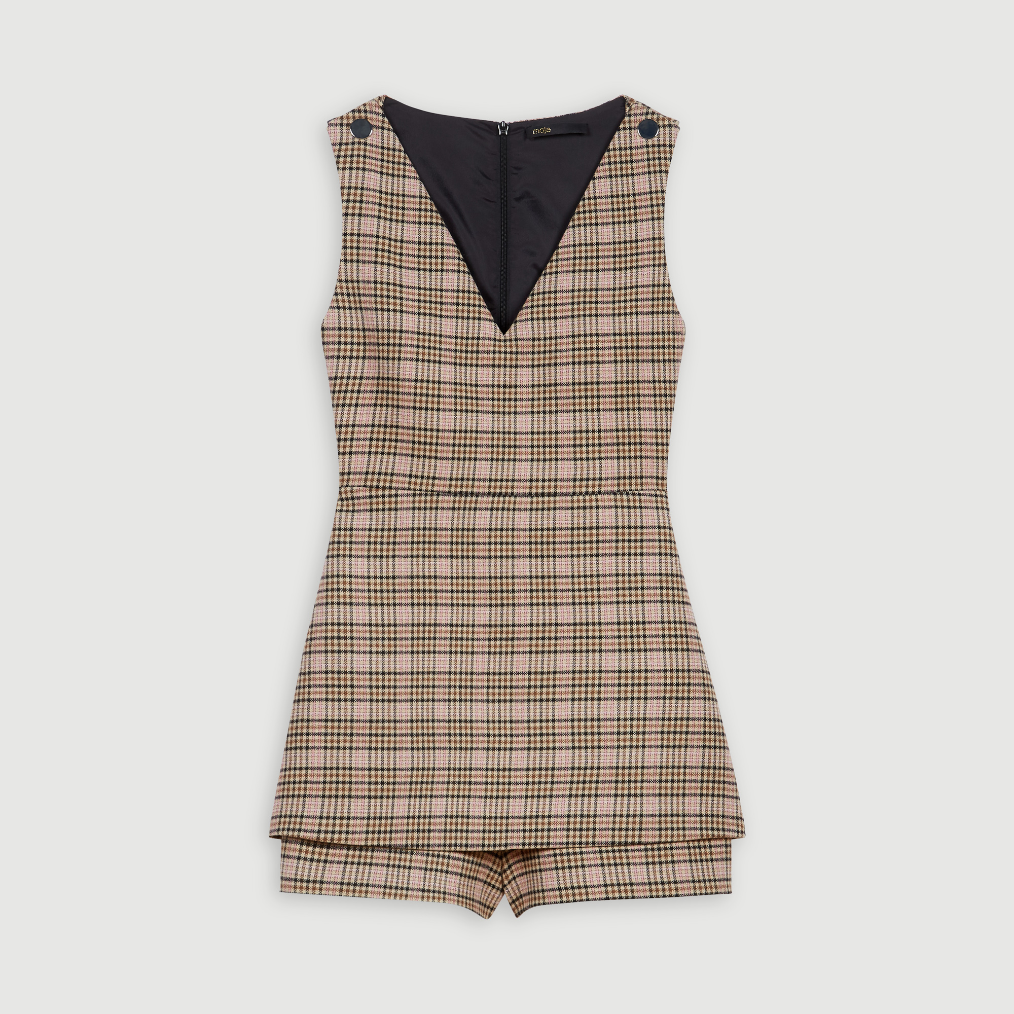 Plaid playsuit - Beige