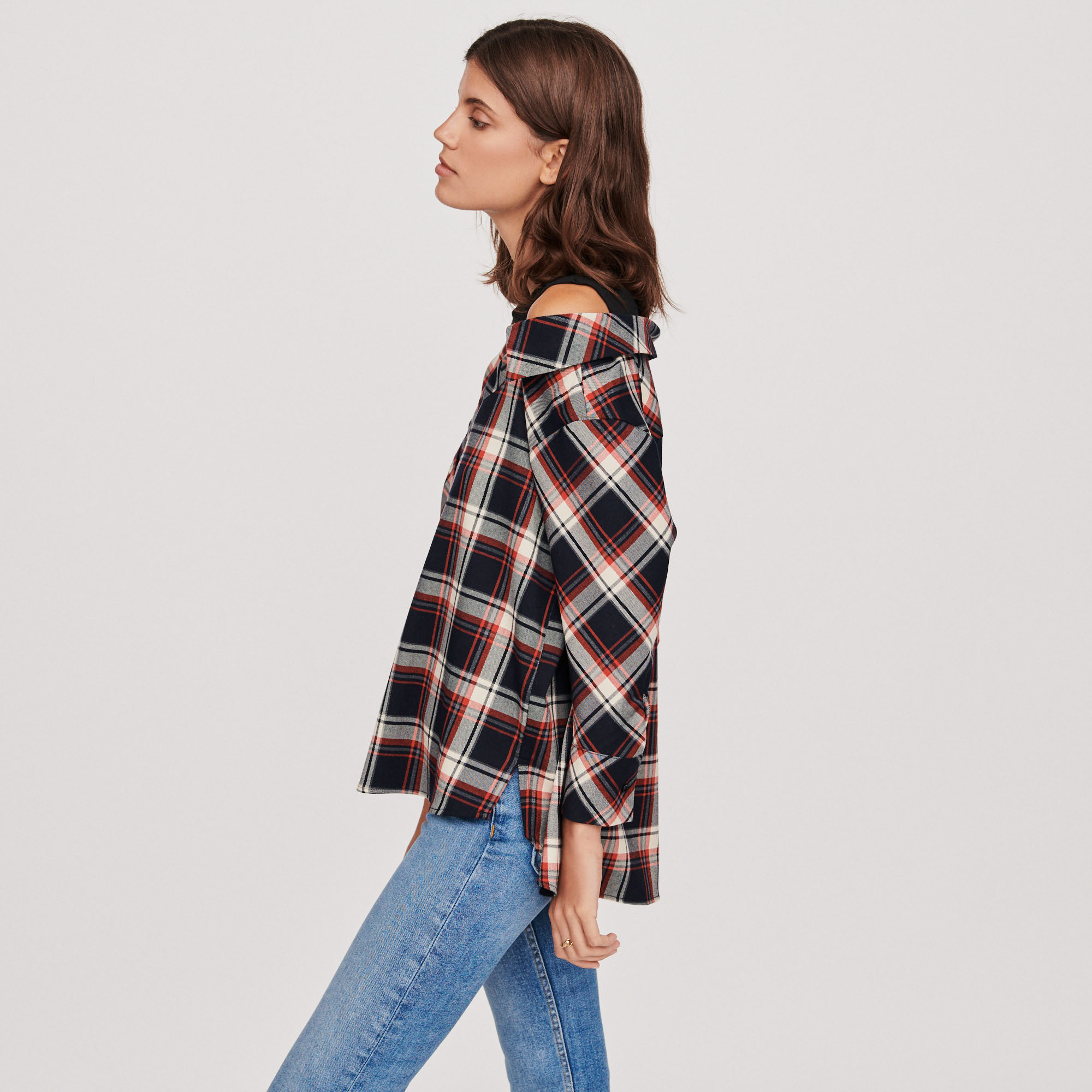 Trompe l'oeil check red shirt - Navy