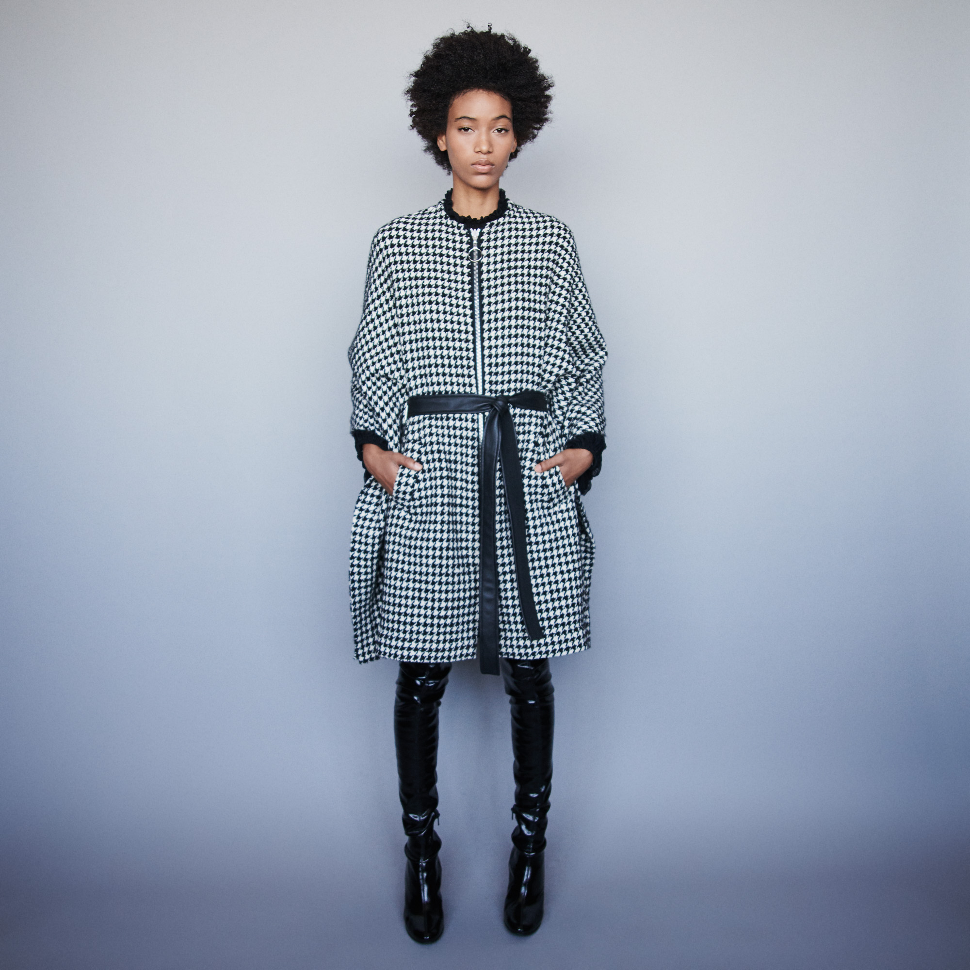 Houndstooth cape style coat - Multiclr