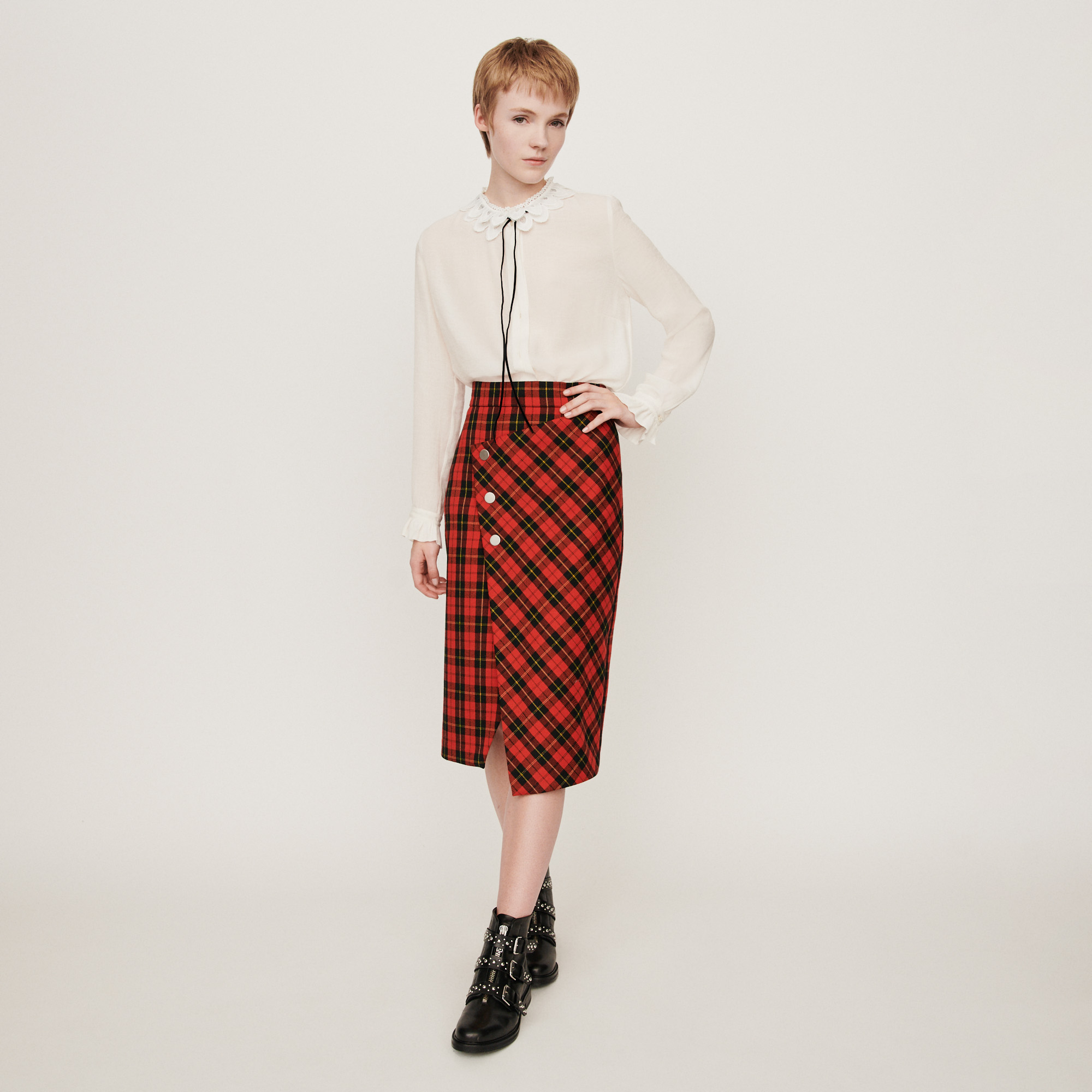 Asymmetrical plaid skirt - Red