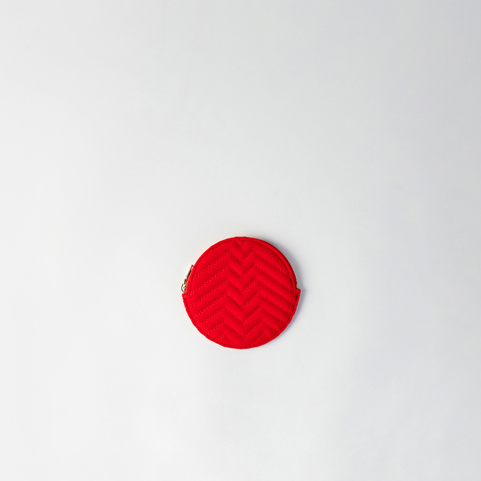 Round quilted velvet coin purse - Red