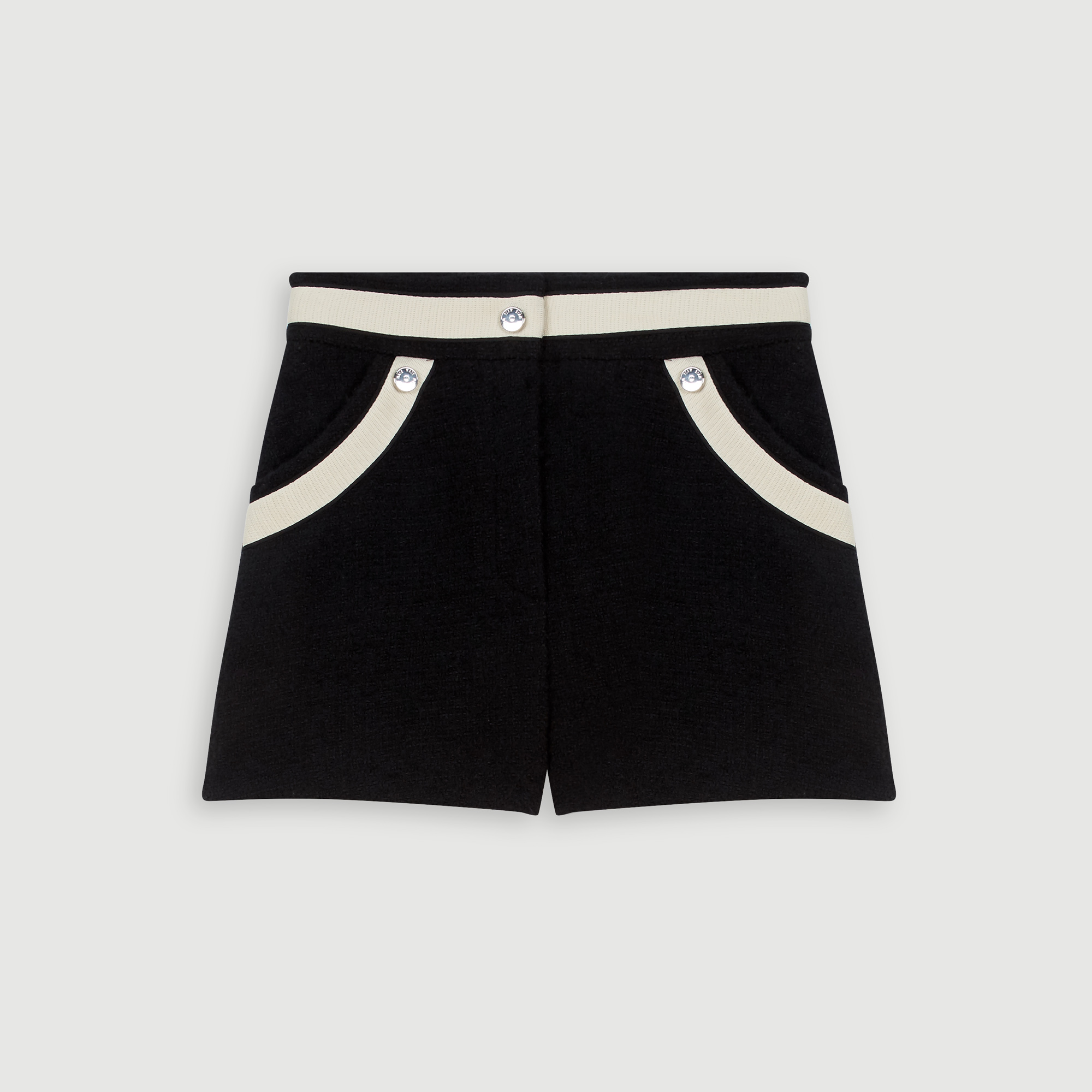 Tweed-style shorts with contrast stripes - Black