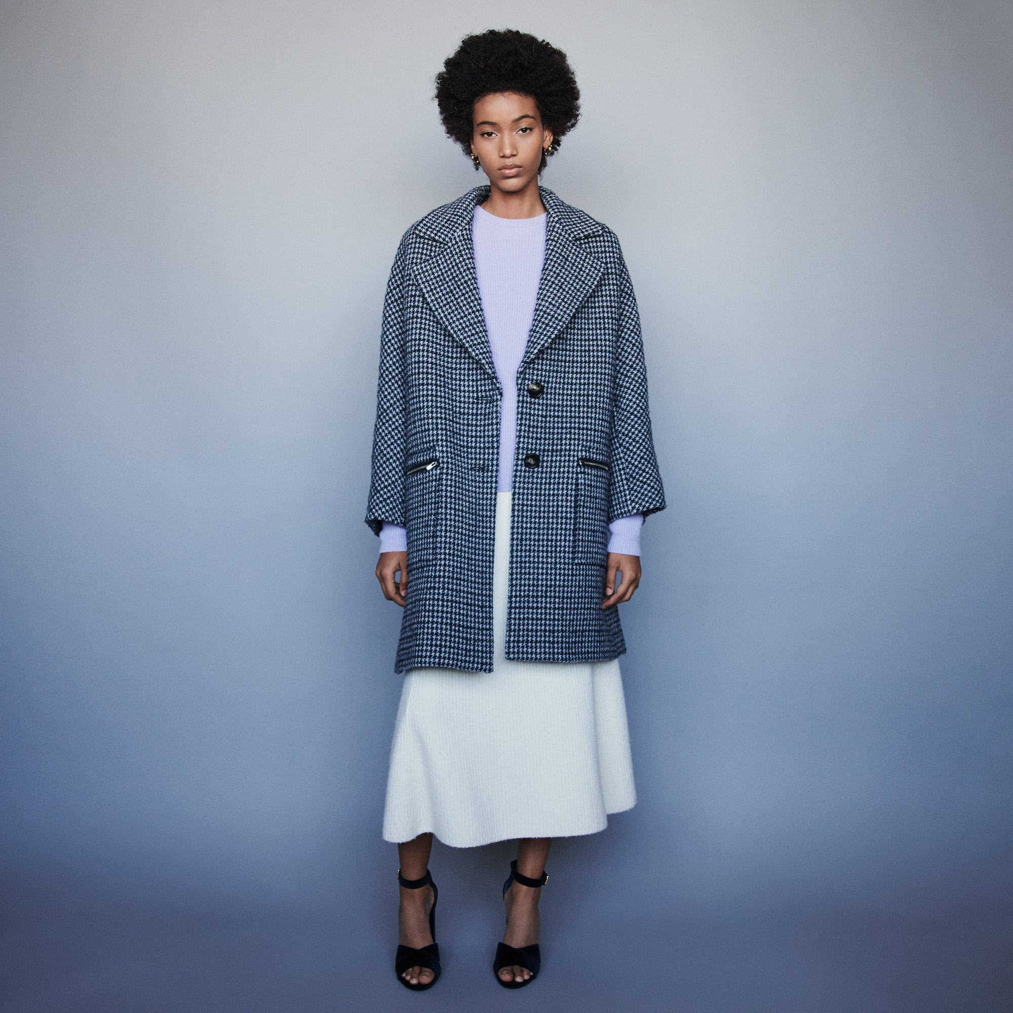Plaid coat with zipped pockets - Blue