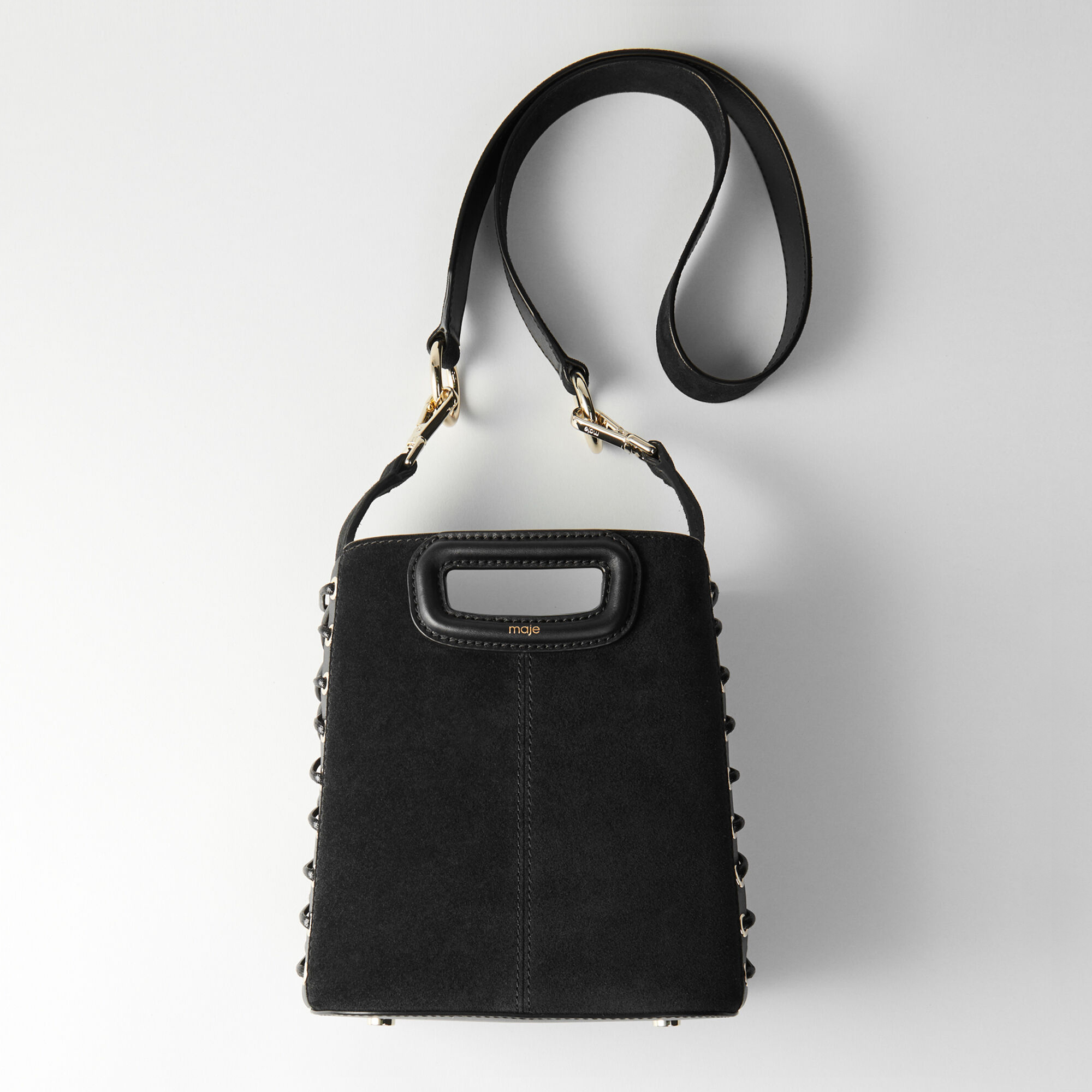 Lace up suede M bucket bag - Black