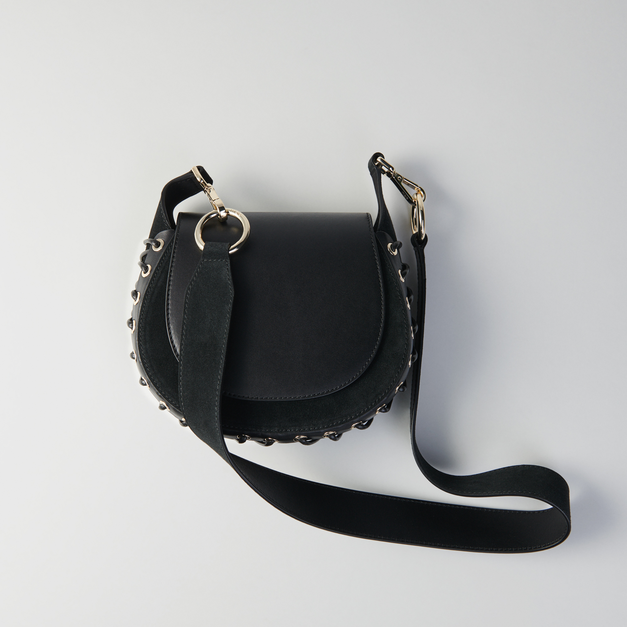 Laceup leather and suede Gyps PM handbag