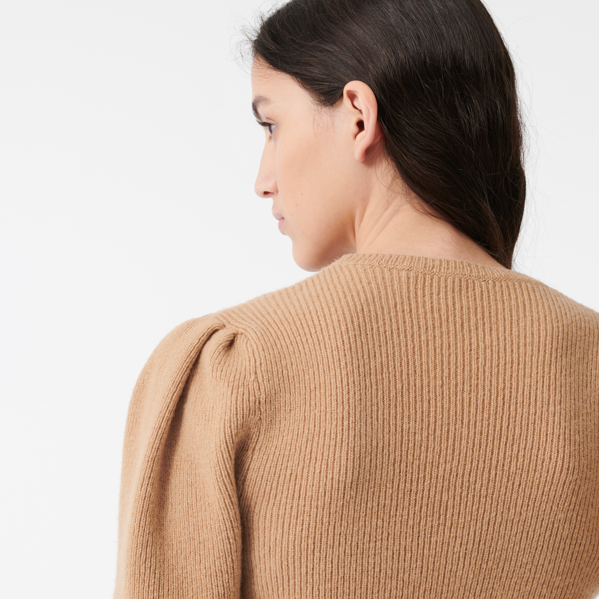 Wool sweater with balloon sleeves - Camel
