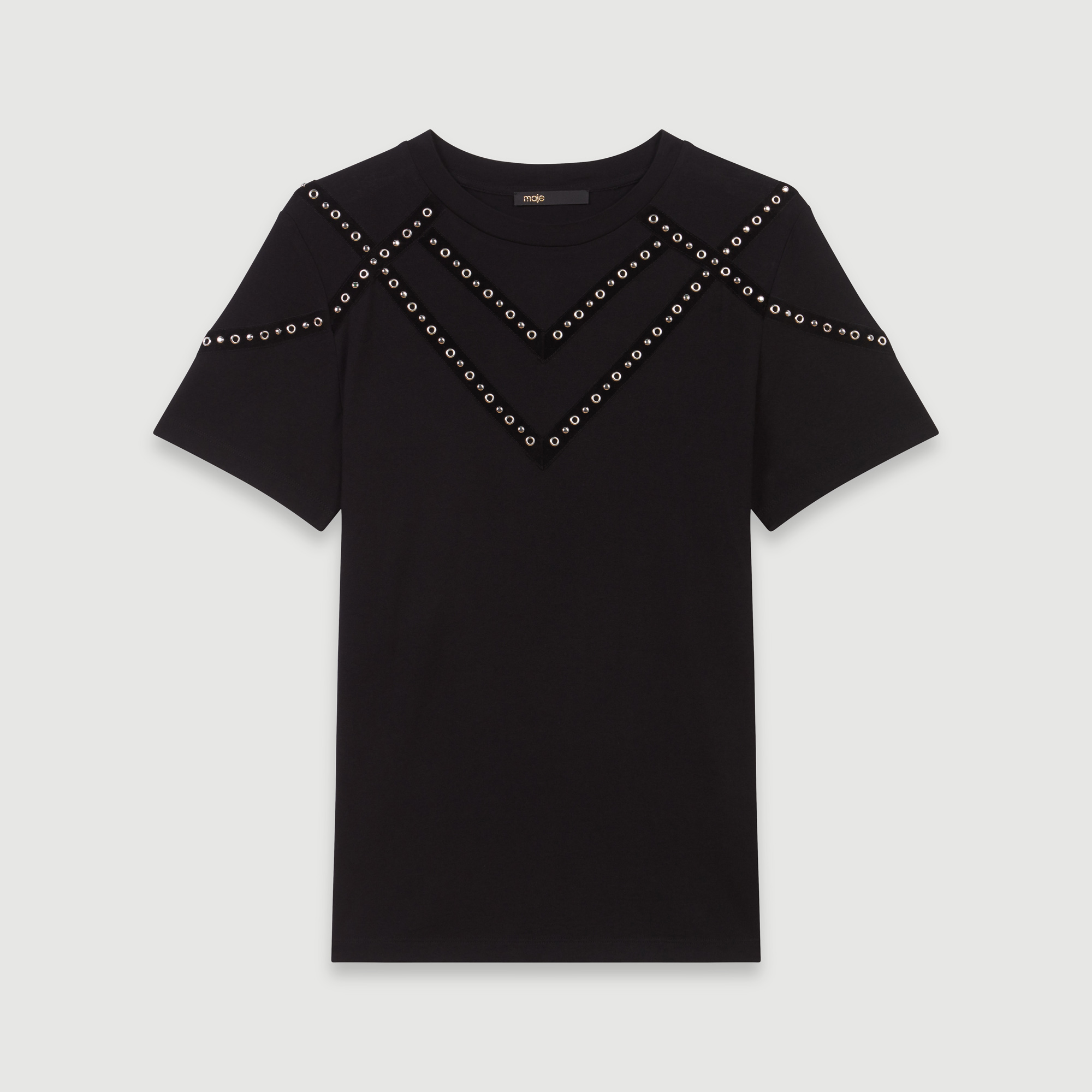 Tshirt with velvet stripes and eyelets - Black