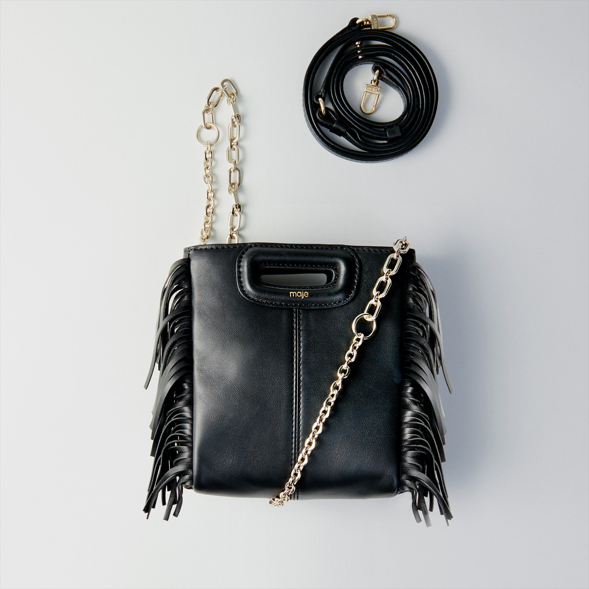 Mini leather M bag with chain - Black